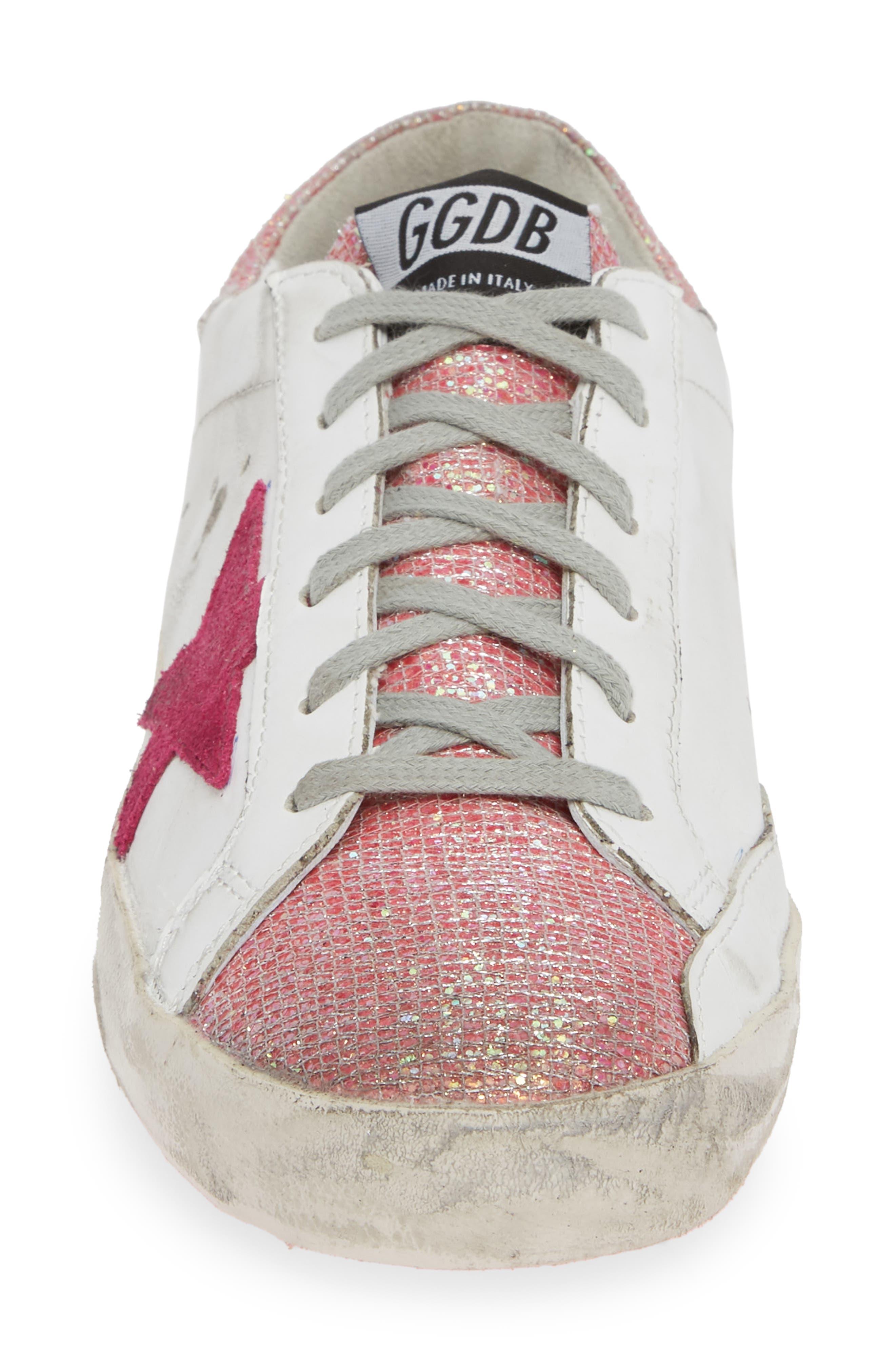 Superstar Sneaker,                             Alternate thumbnail 4, color,                             WHITE/ PINK