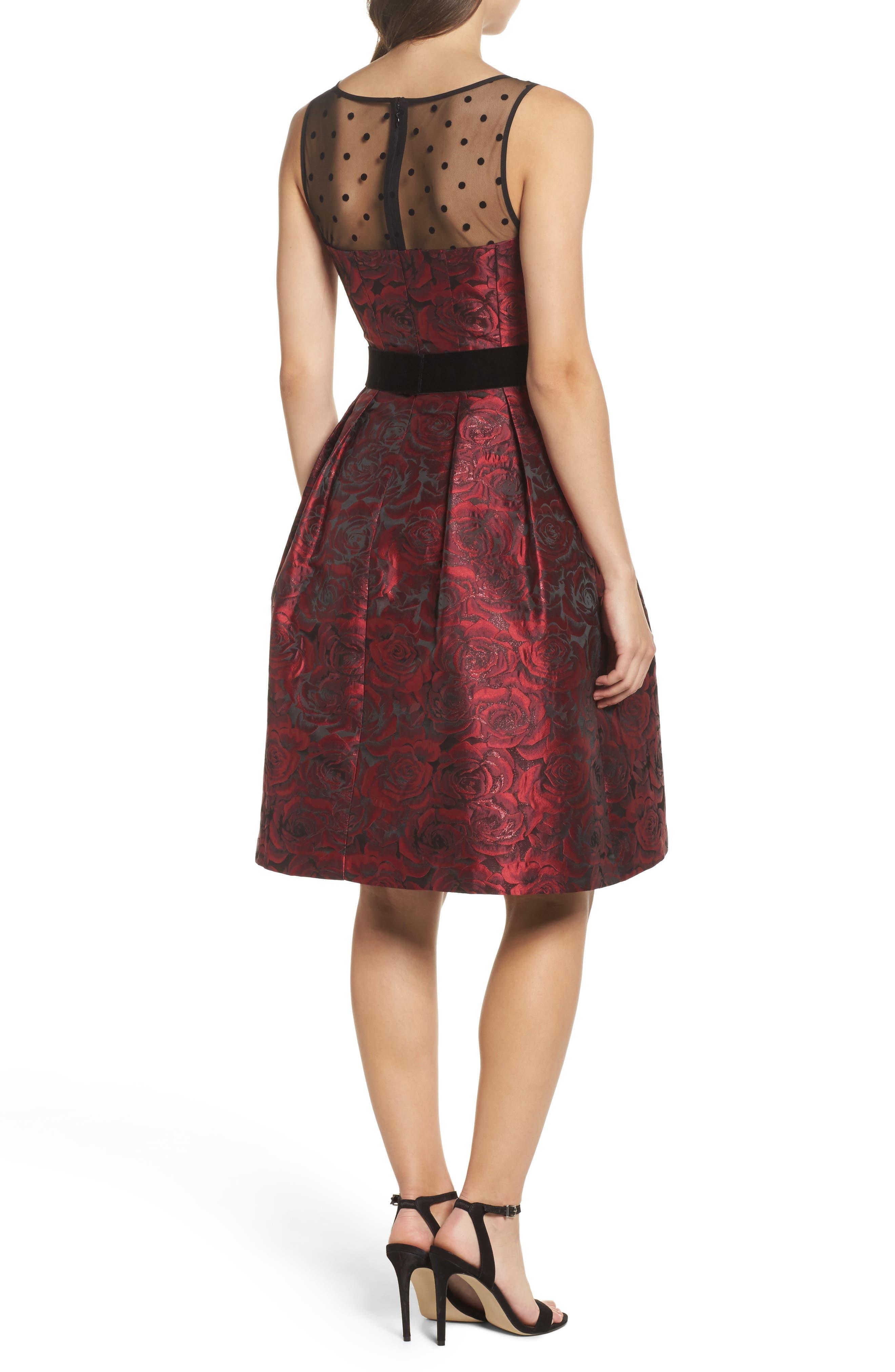 Jacquard Fit & Flare Dress,                             Alternate thumbnail 2, color,                             614