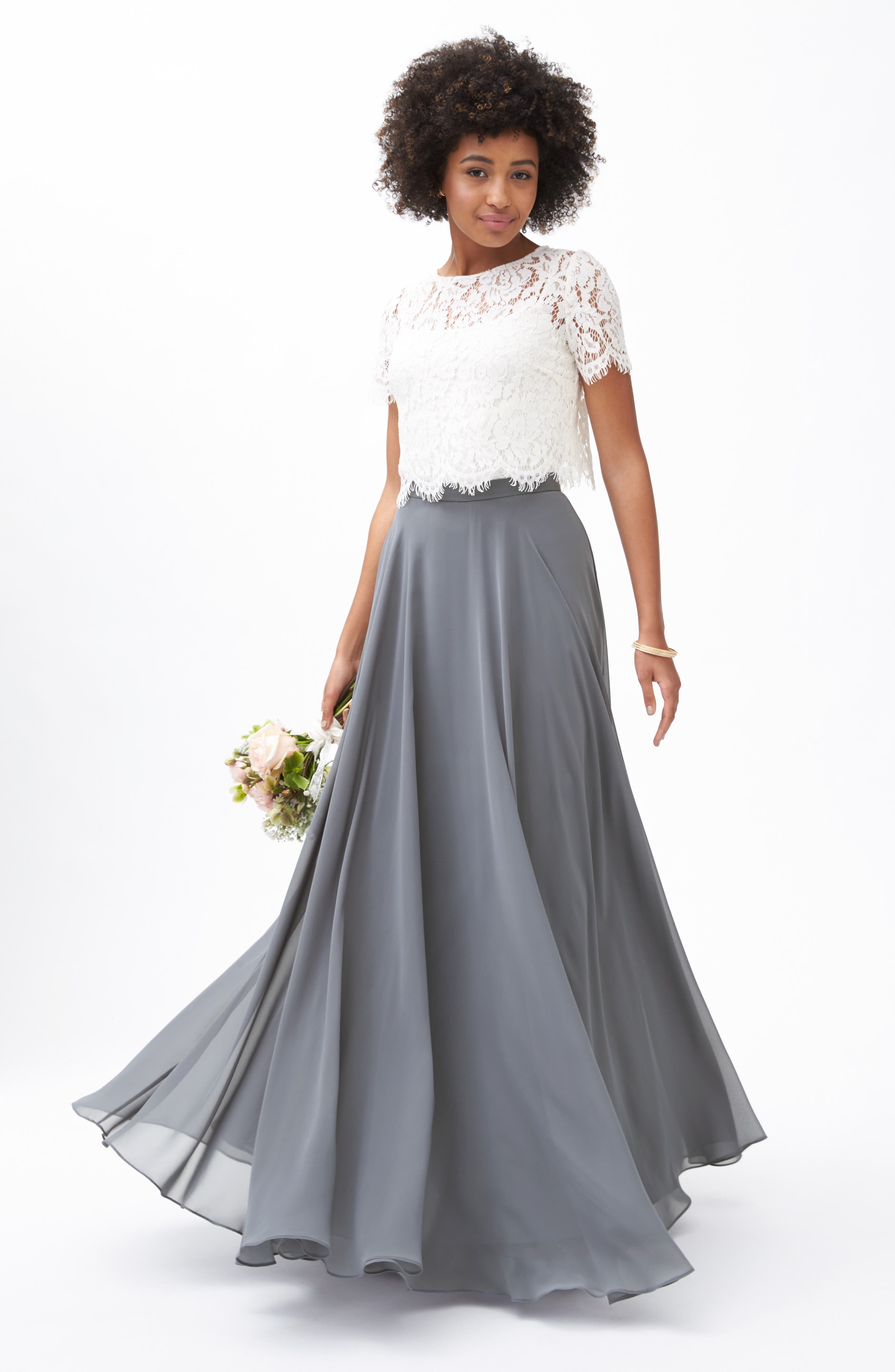 Hampton Long A-Line Chiffon Skirt,                             Alternate thumbnail 8, color,                             DENMARK BLUE