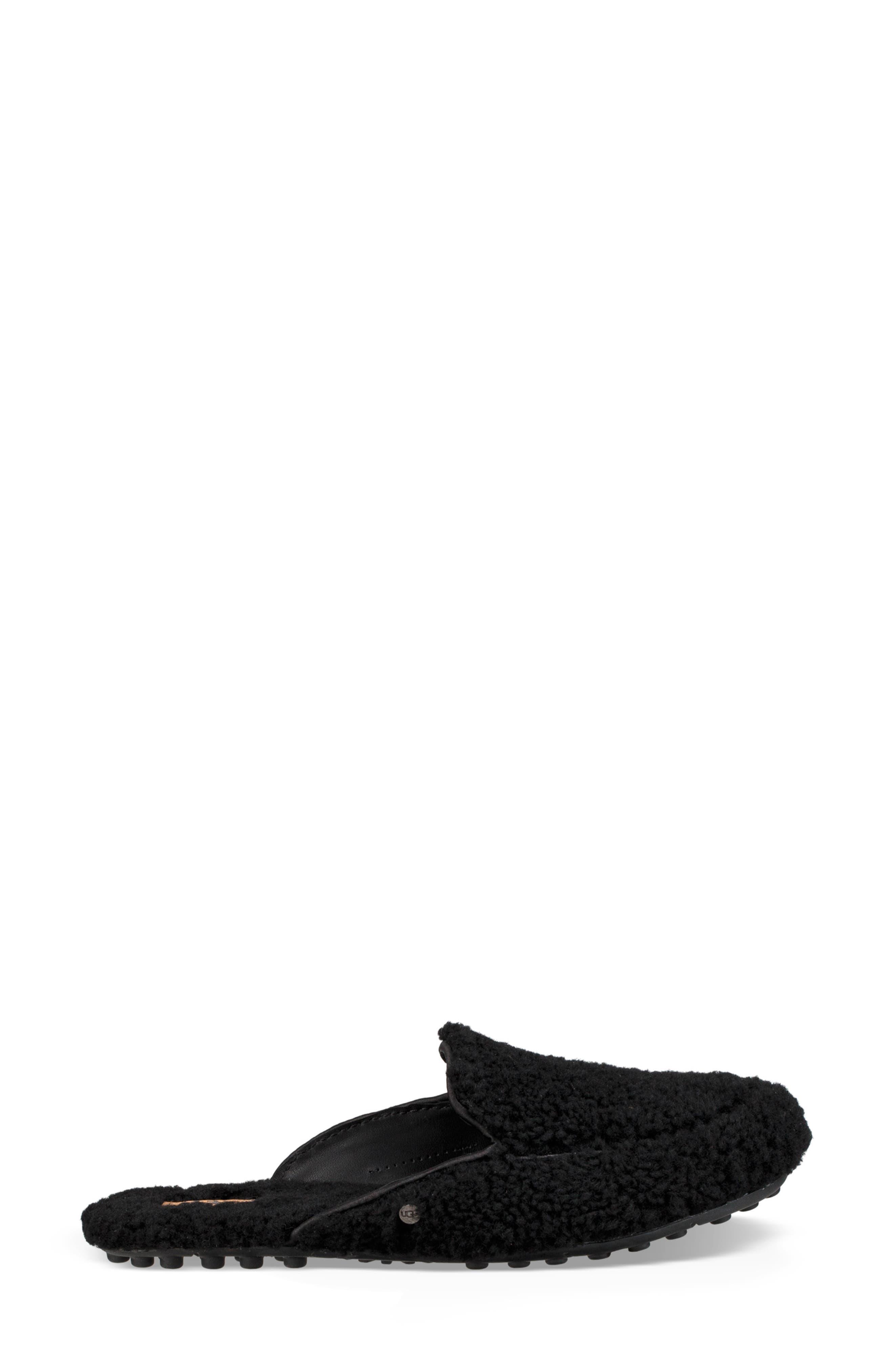 Lane Fluff Genuine Shearling Loafer Slipper,                             Alternate thumbnail 3, color,                             BLACK
