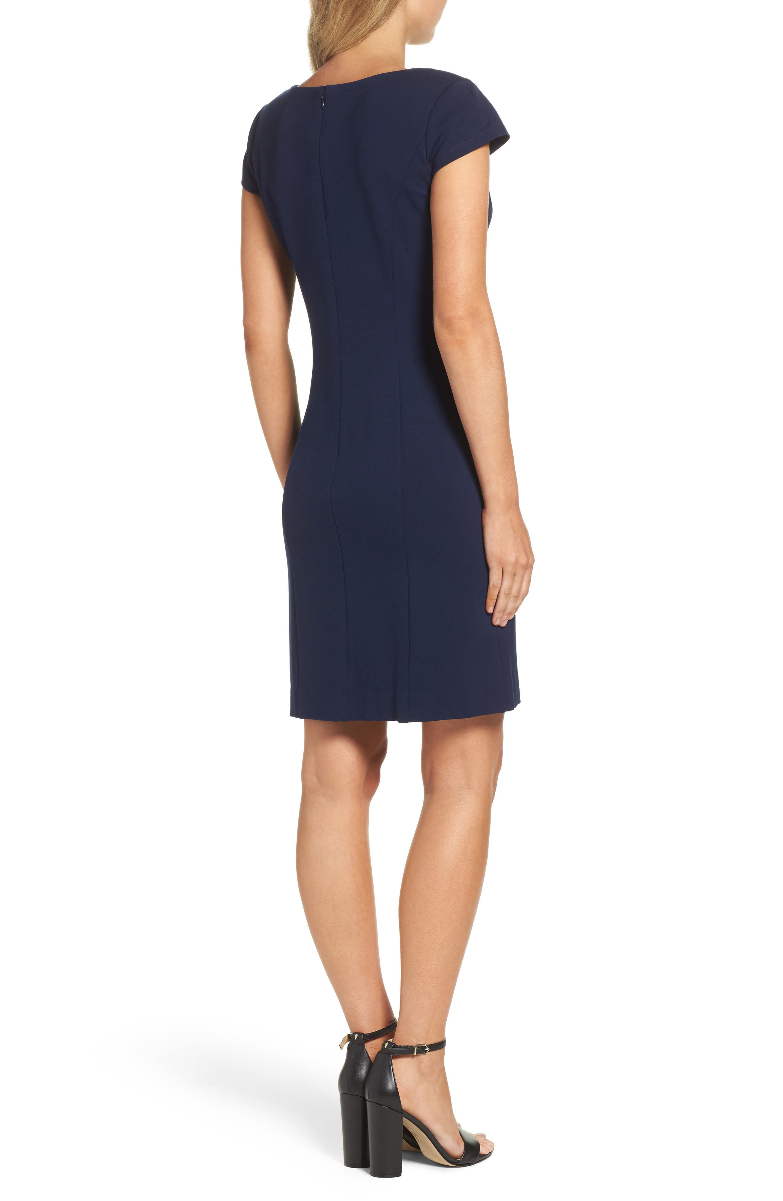 Cap Sleeve Sheath Dress,                             Alternate thumbnail 2, color,                             NAVY
