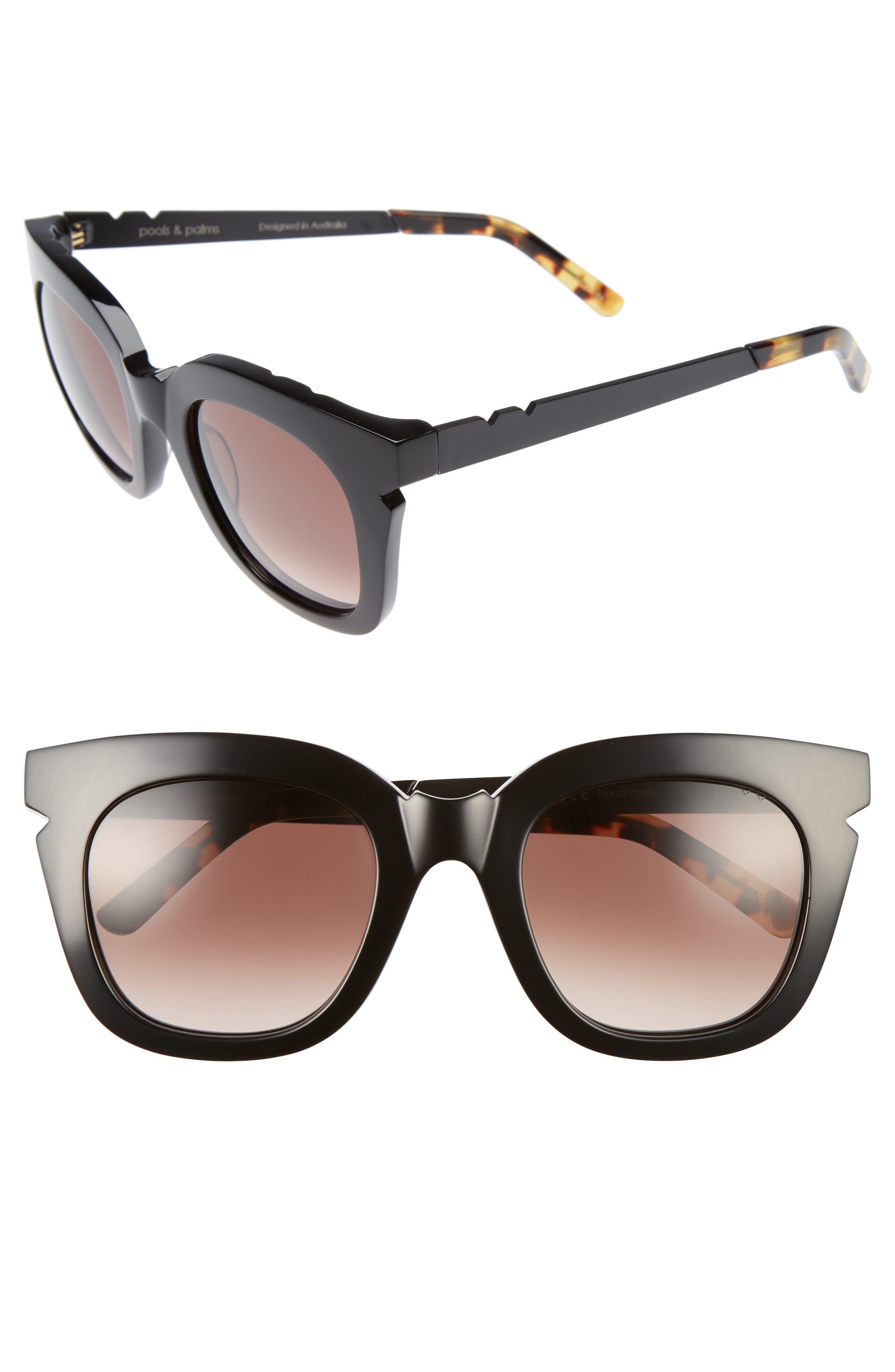 Pools & Palms 50mm Sunglasses,                             Main thumbnail 1, color,                             BLACK/ BROWN