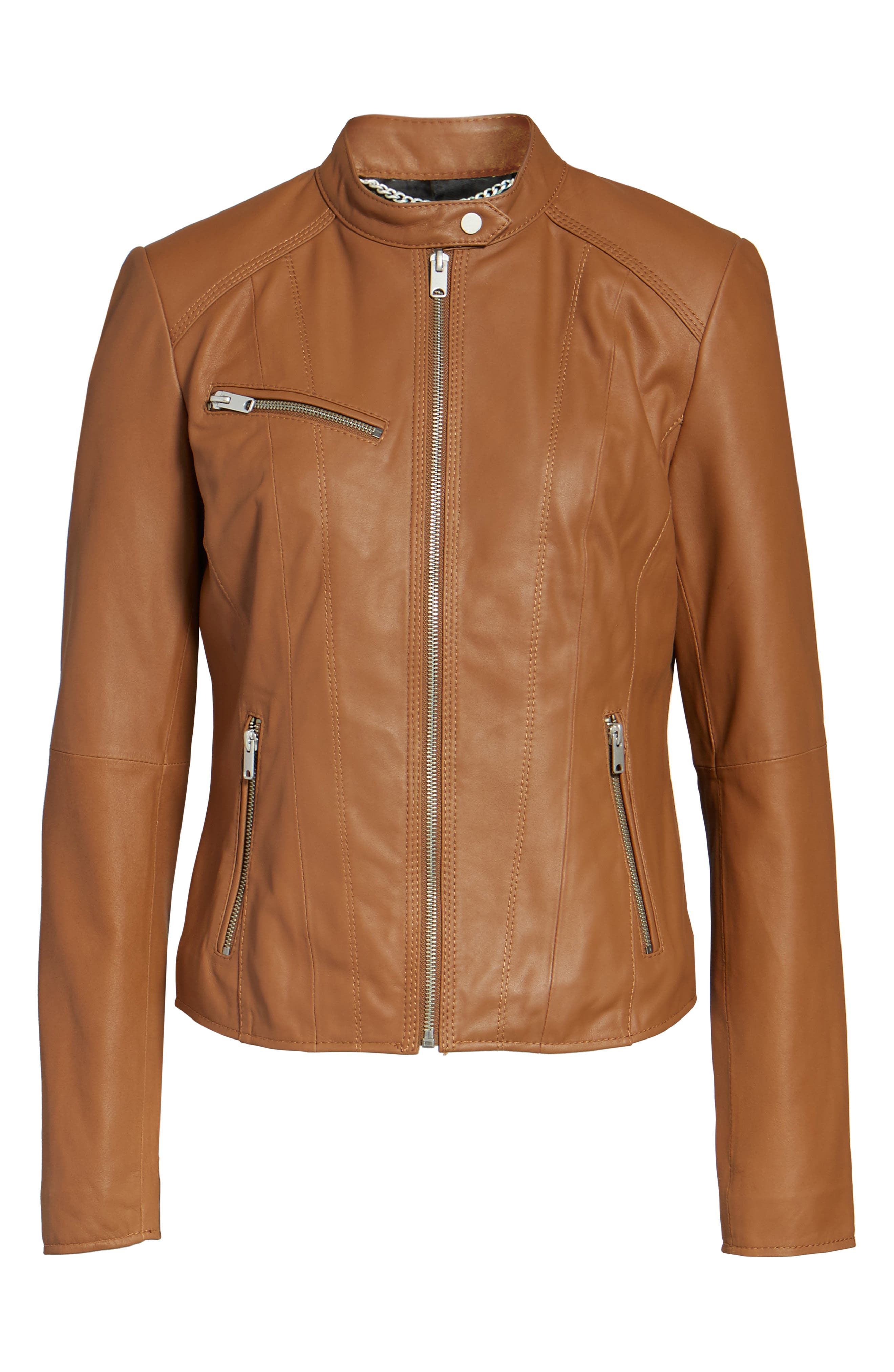 Andrew Marc Felicity Leather Moto Jacket,                             Alternate thumbnail 10, color,