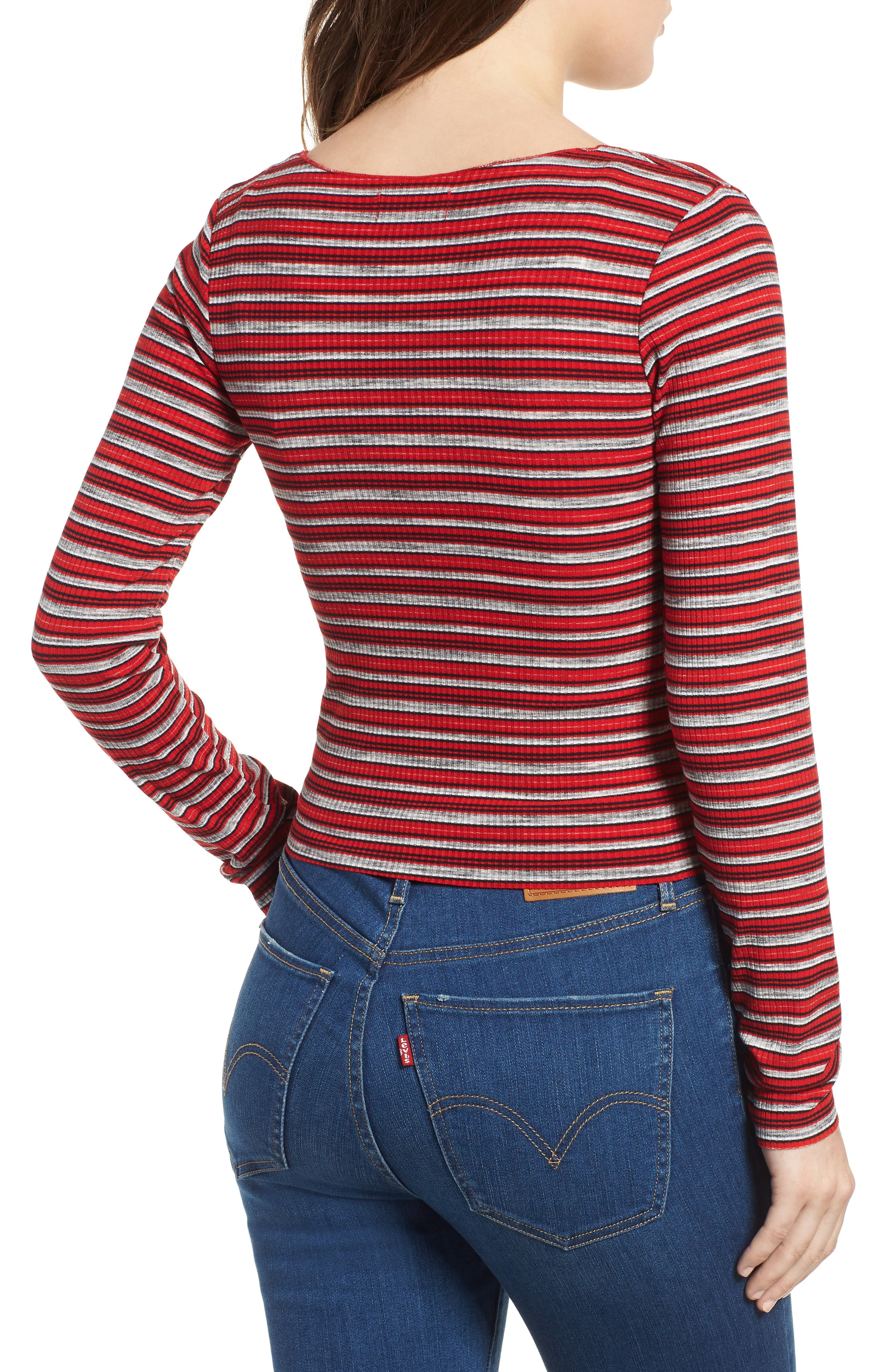 Multi Stripe Cinch Front Top,                             Alternate thumbnail 2, color,                             RED/ NAVY