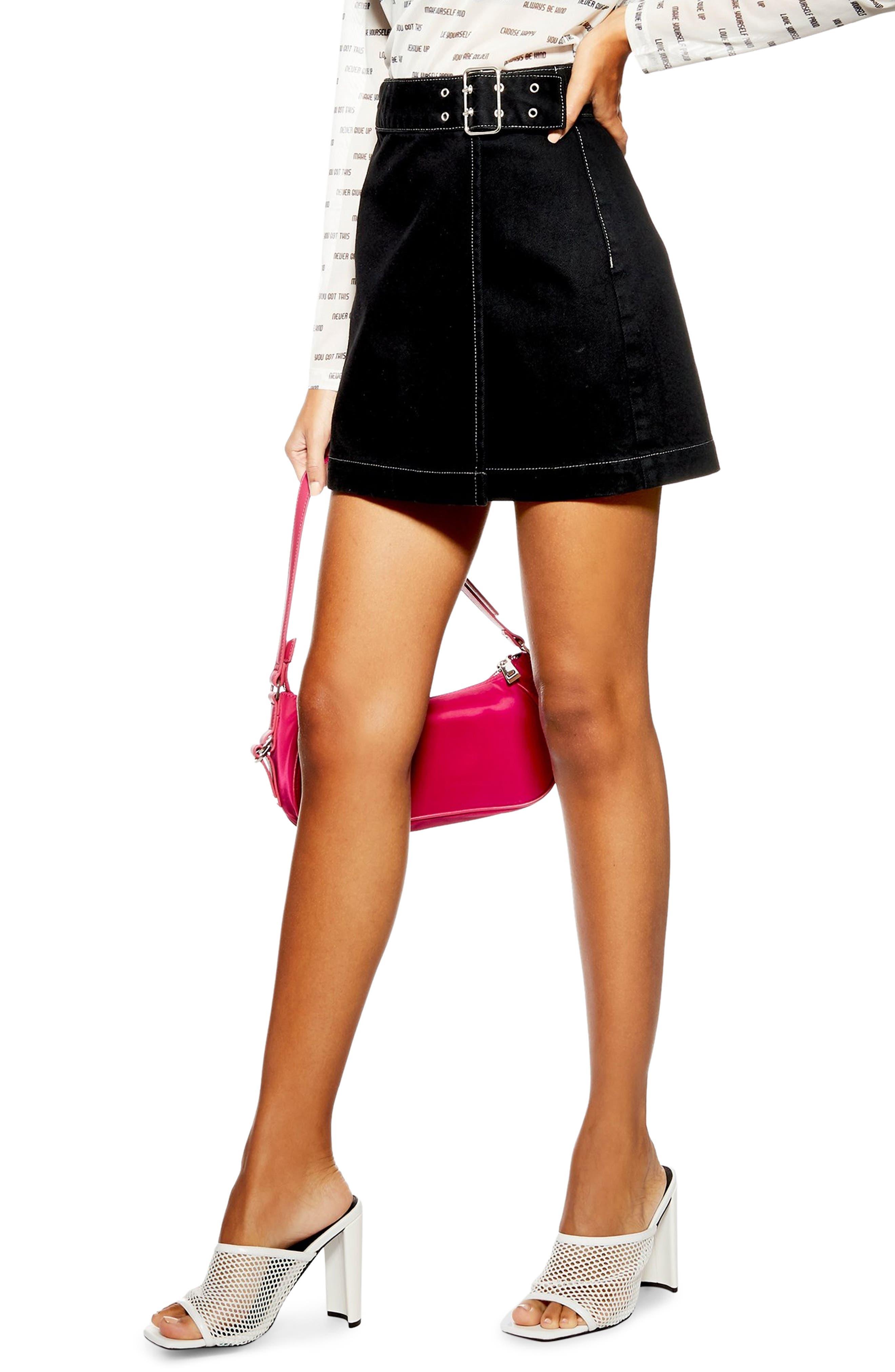 Topshop Denim Buckle Wrap Skirt, US (fits like 0) - Black