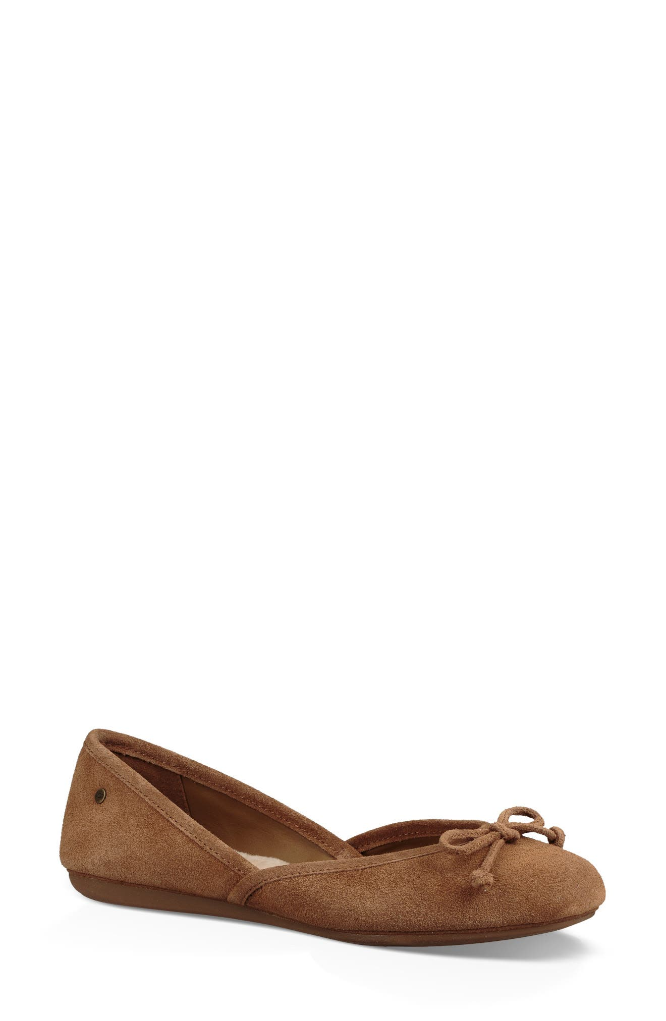 UGG<SUP>®</SUP>,                             Lena Flat,                             Main thumbnail 1, color,                             CHESTNUT SUEDE