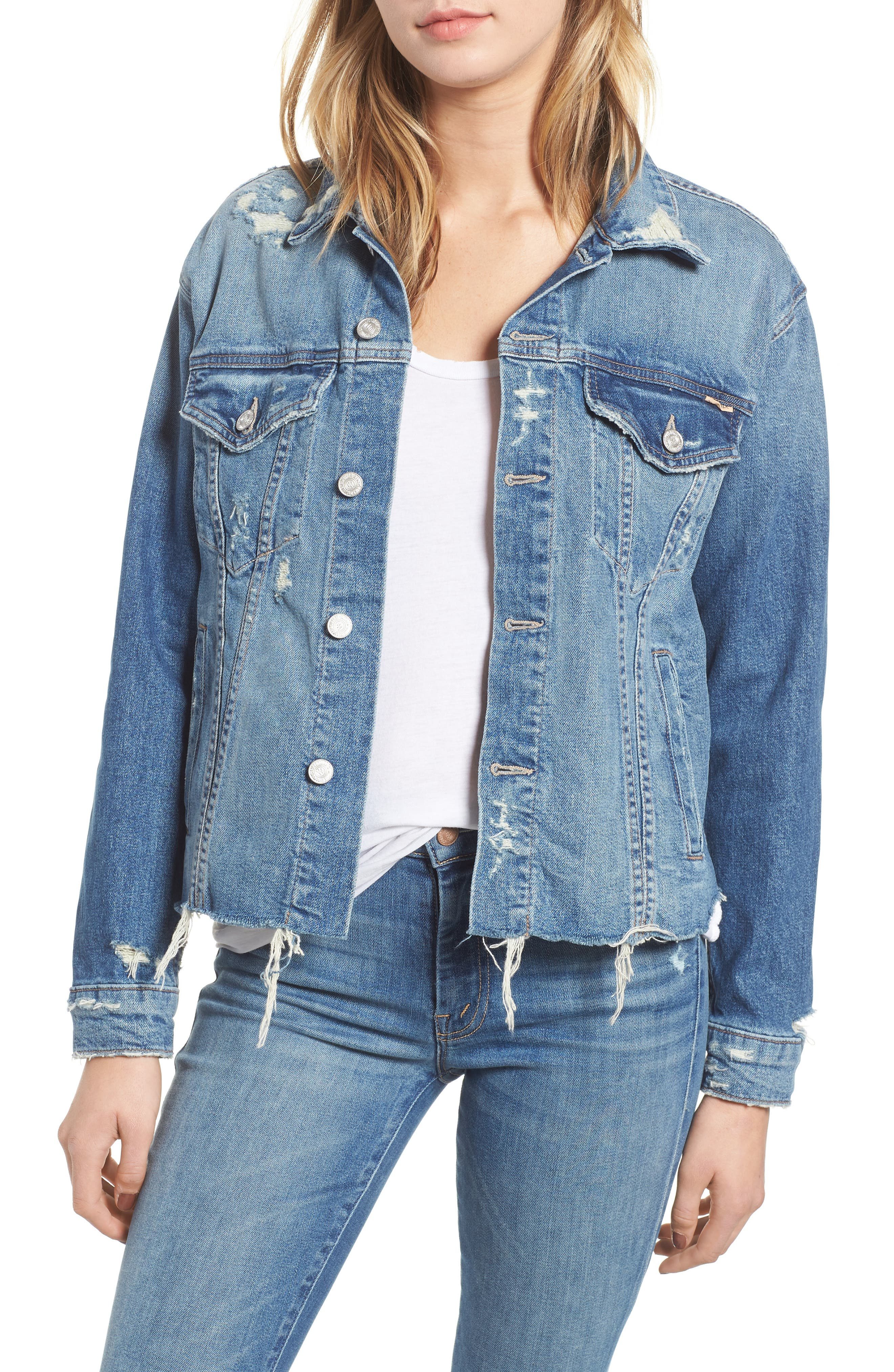 The Cut Denim Jacket,                             Main thumbnail 1, color,                             BETTER WHEN ITS WRONG