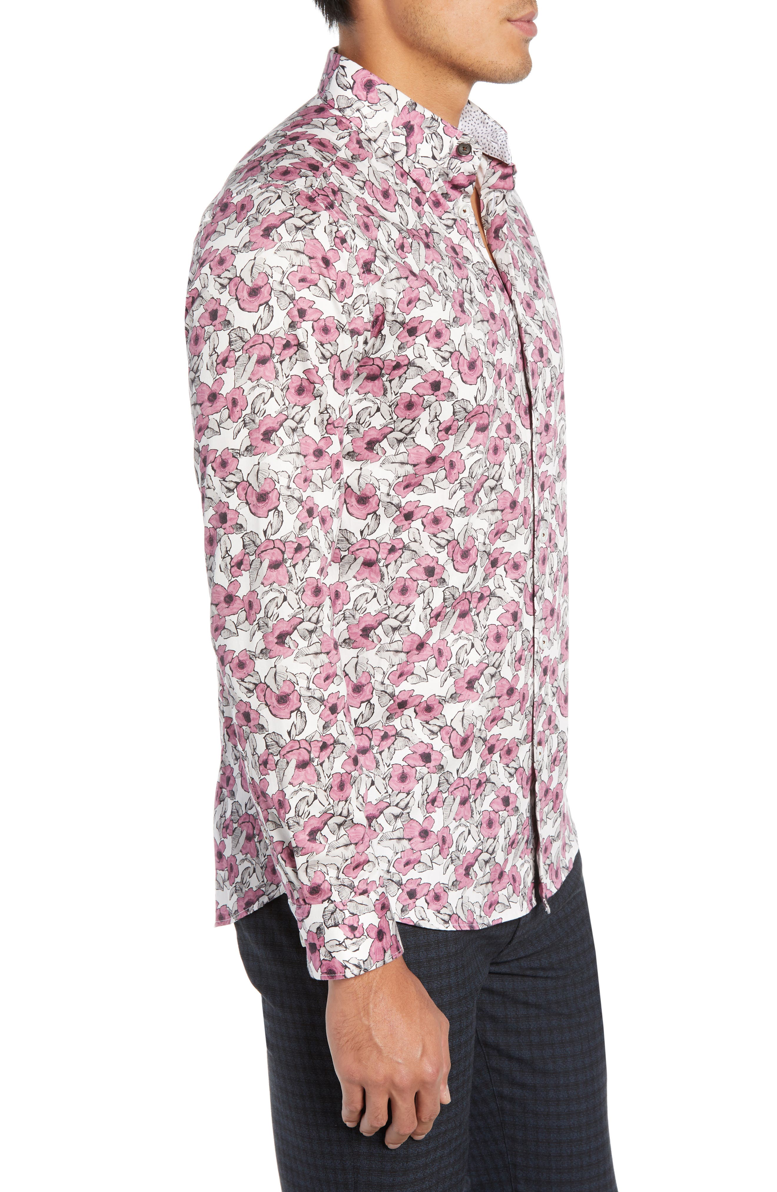 Croyden Slim Fit Floral Sport Shirt,                             Alternate thumbnail 4, color,                             PINK