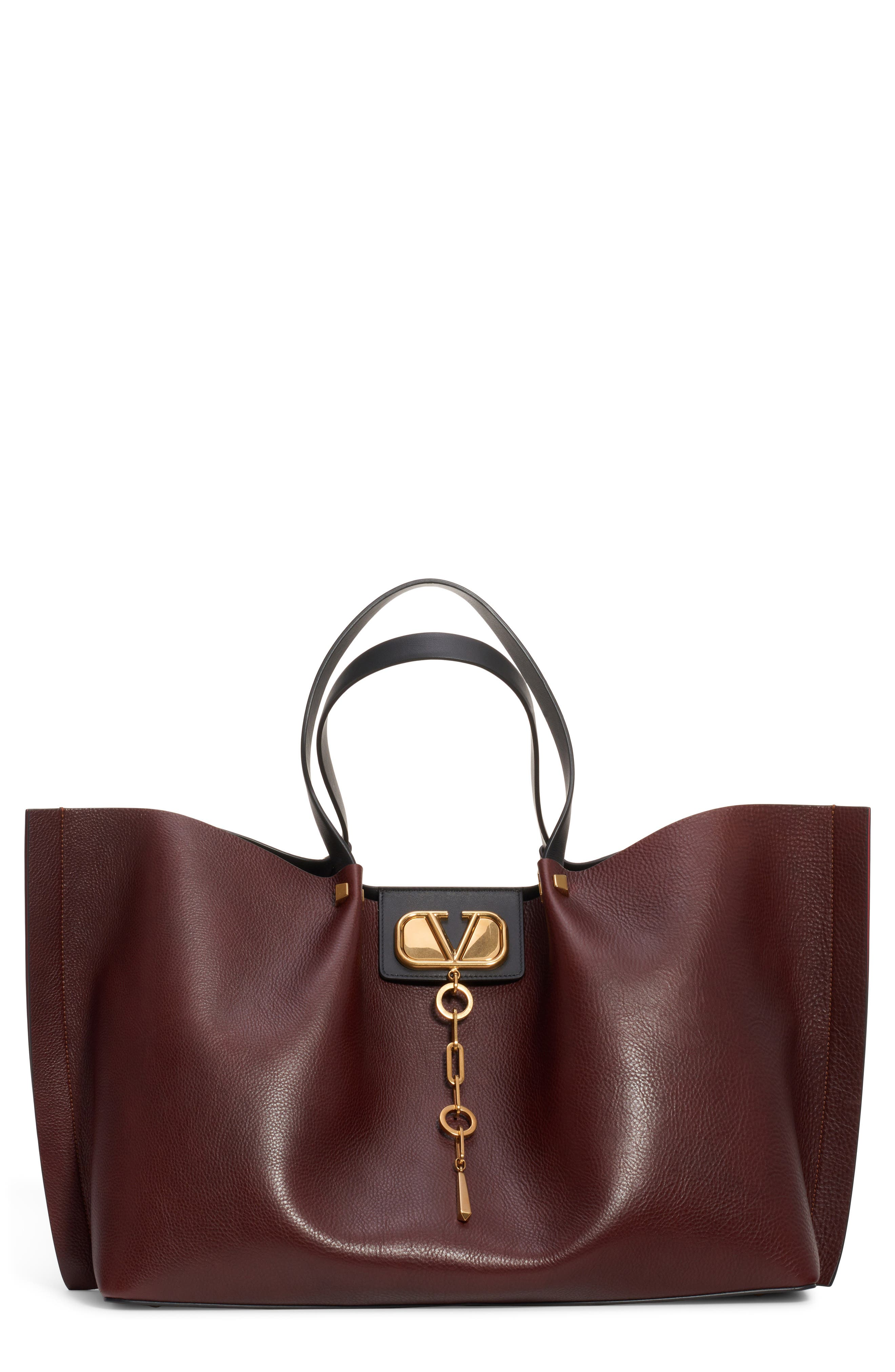 Large Go Logo Leather Tote, Main, color, MORO/ NERO/ ROUGE PUR