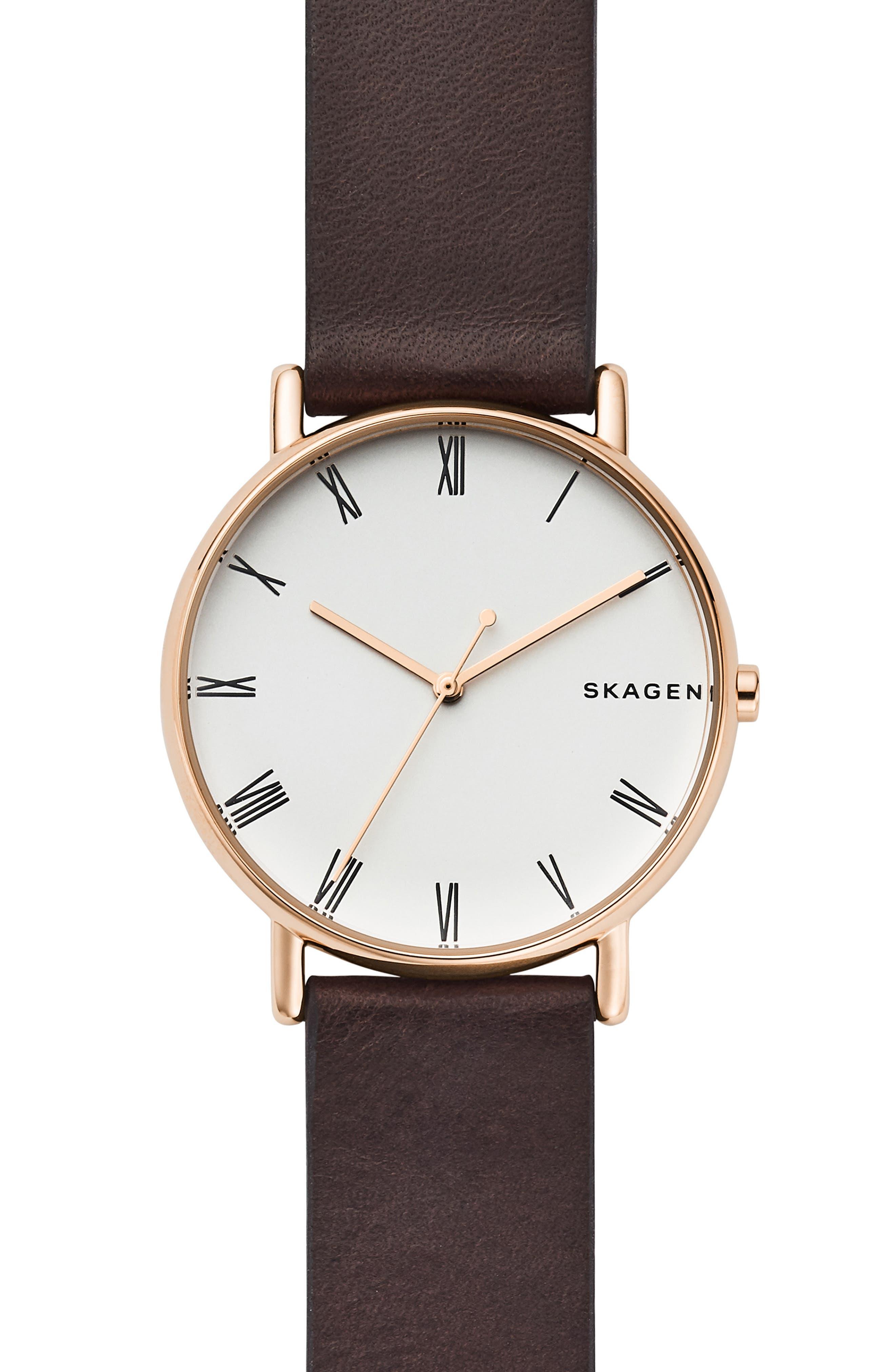 SKAGEN,                             Signatur Leather Strap Watch, 40mm,                             Main thumbnail 1, color,                             200
