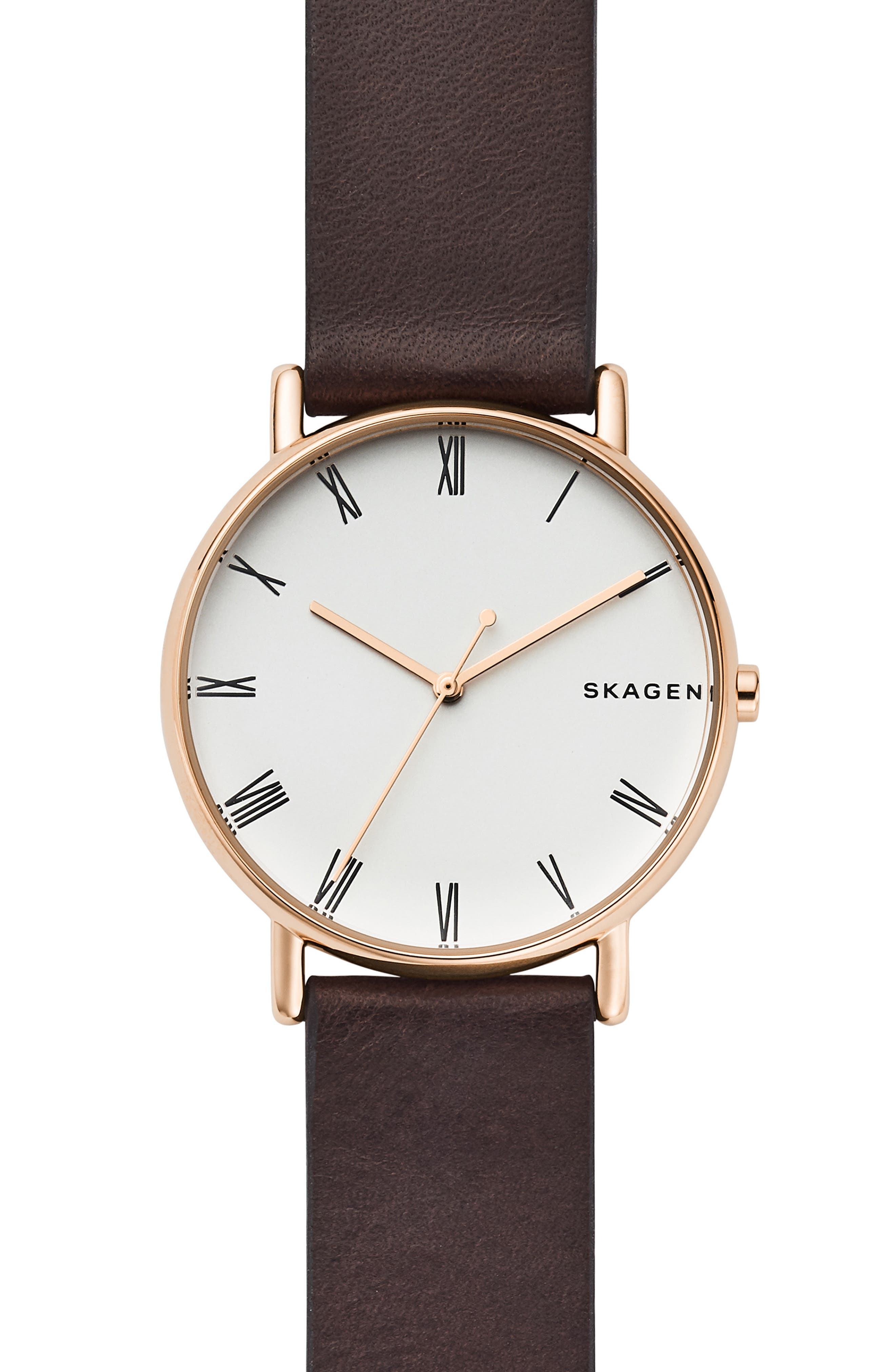 SKAGEN Signatur Leather Strap Watch, 40mm, Main, color, 200