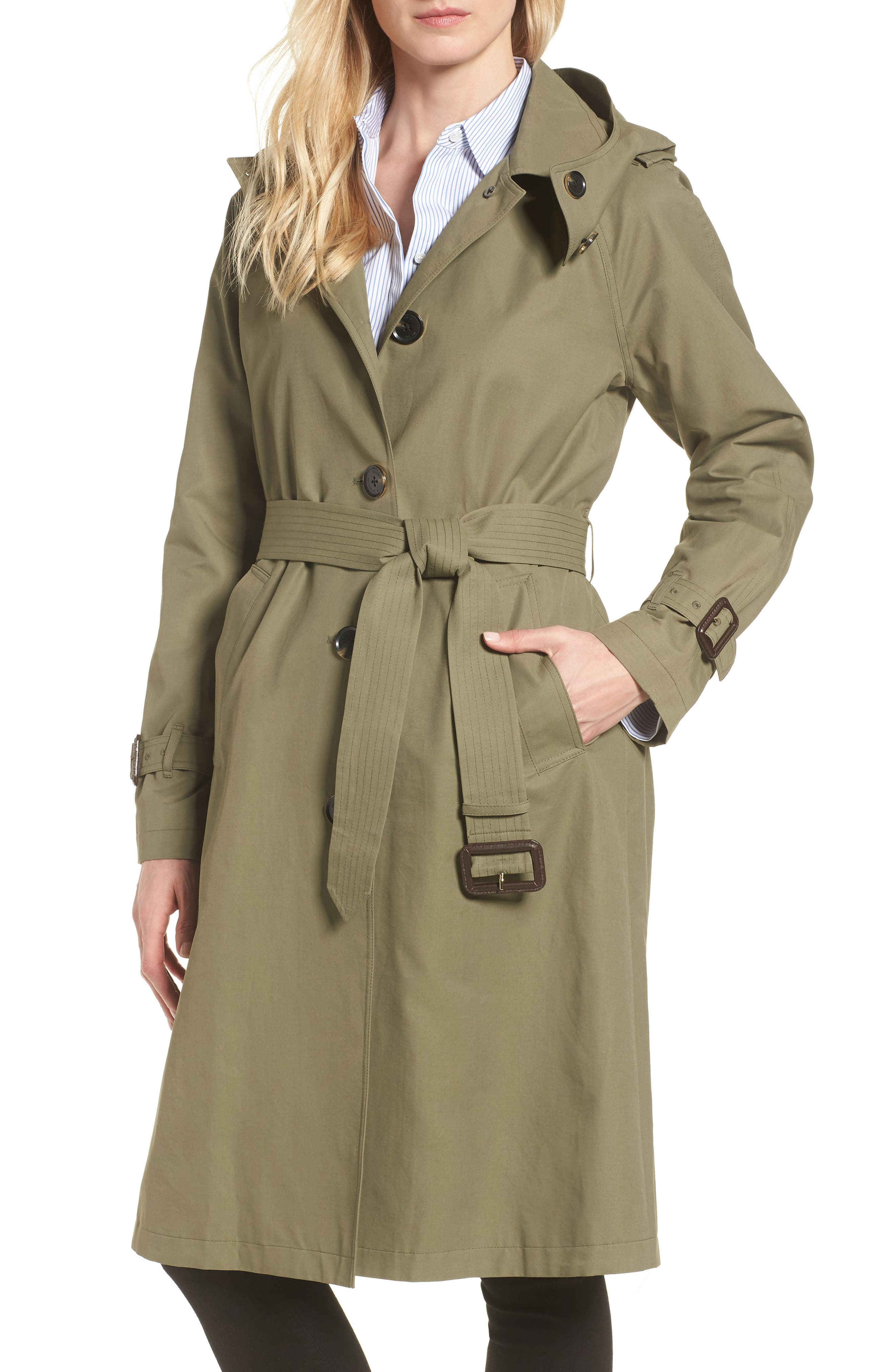 Hooded Trench Coat,                         Main,                         color, ARMY