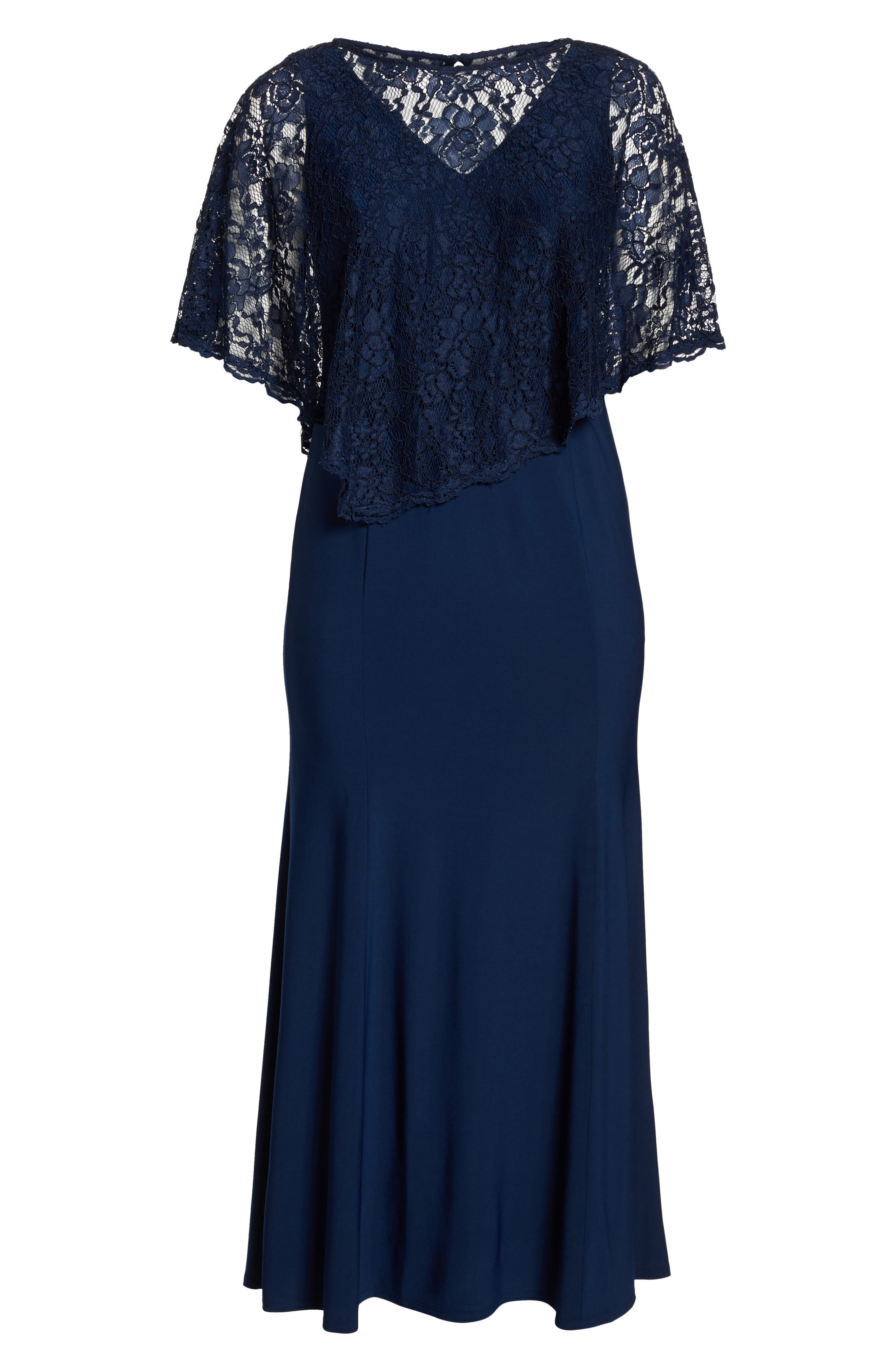 Lace Poncho Dress,                             Alternate thumbnail 6, color,                             NAVY