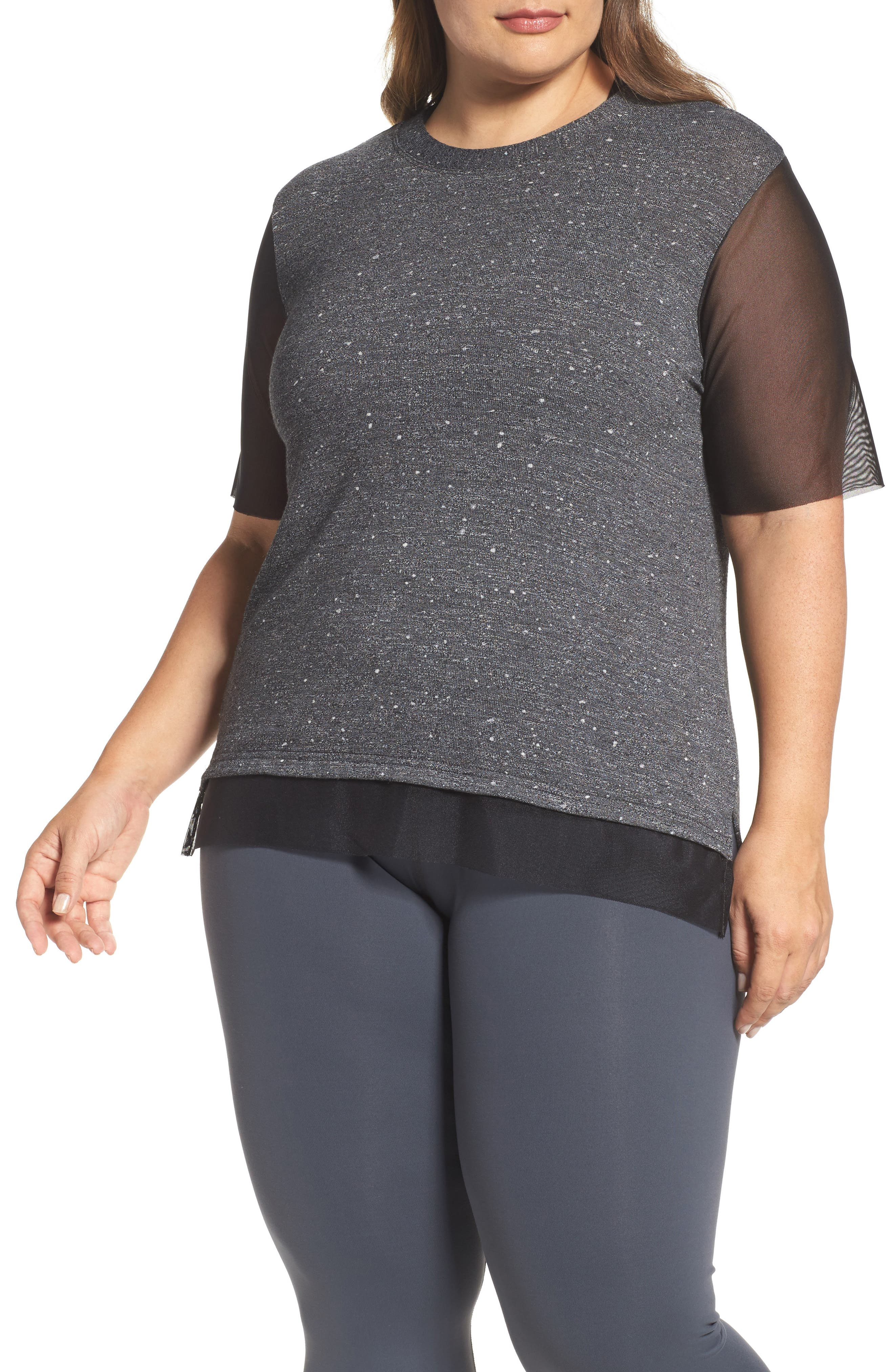 Lola Mesh Sleeve Tee,                         Main,                         color, CHARCOAL