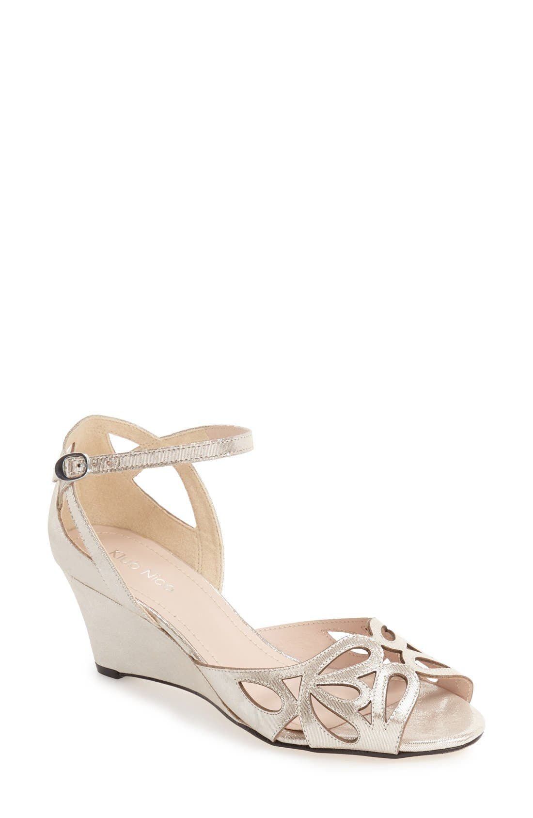 KLUB NICO,                             'Kismet' Wedge Sandal,                             Main thumbnail 1, color,                             SILVER LEATHER