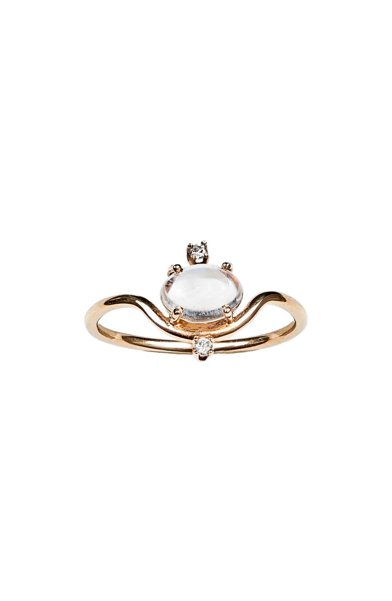 WWAKE Nestled Moonstone & Diamond Ring, Main, color, 710