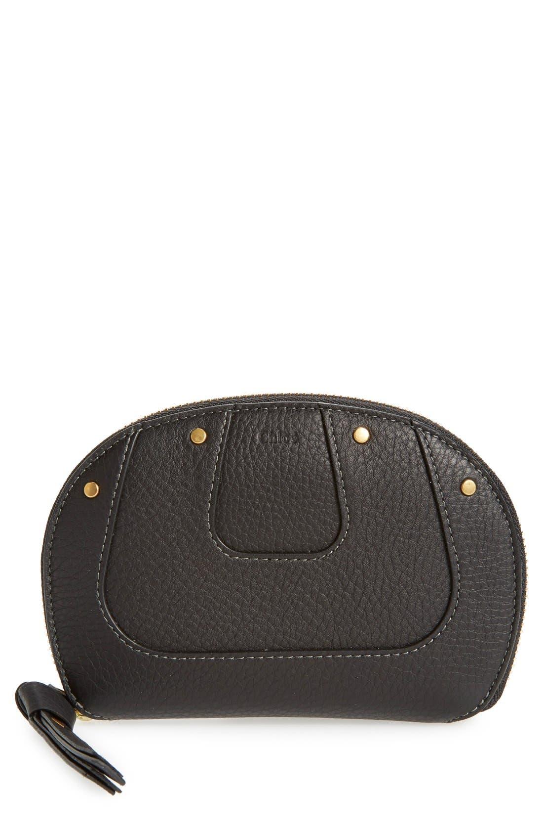 CHLOÉ 'Hayley' Zip Around Calfskin Leather Wallet, Main, color, 001