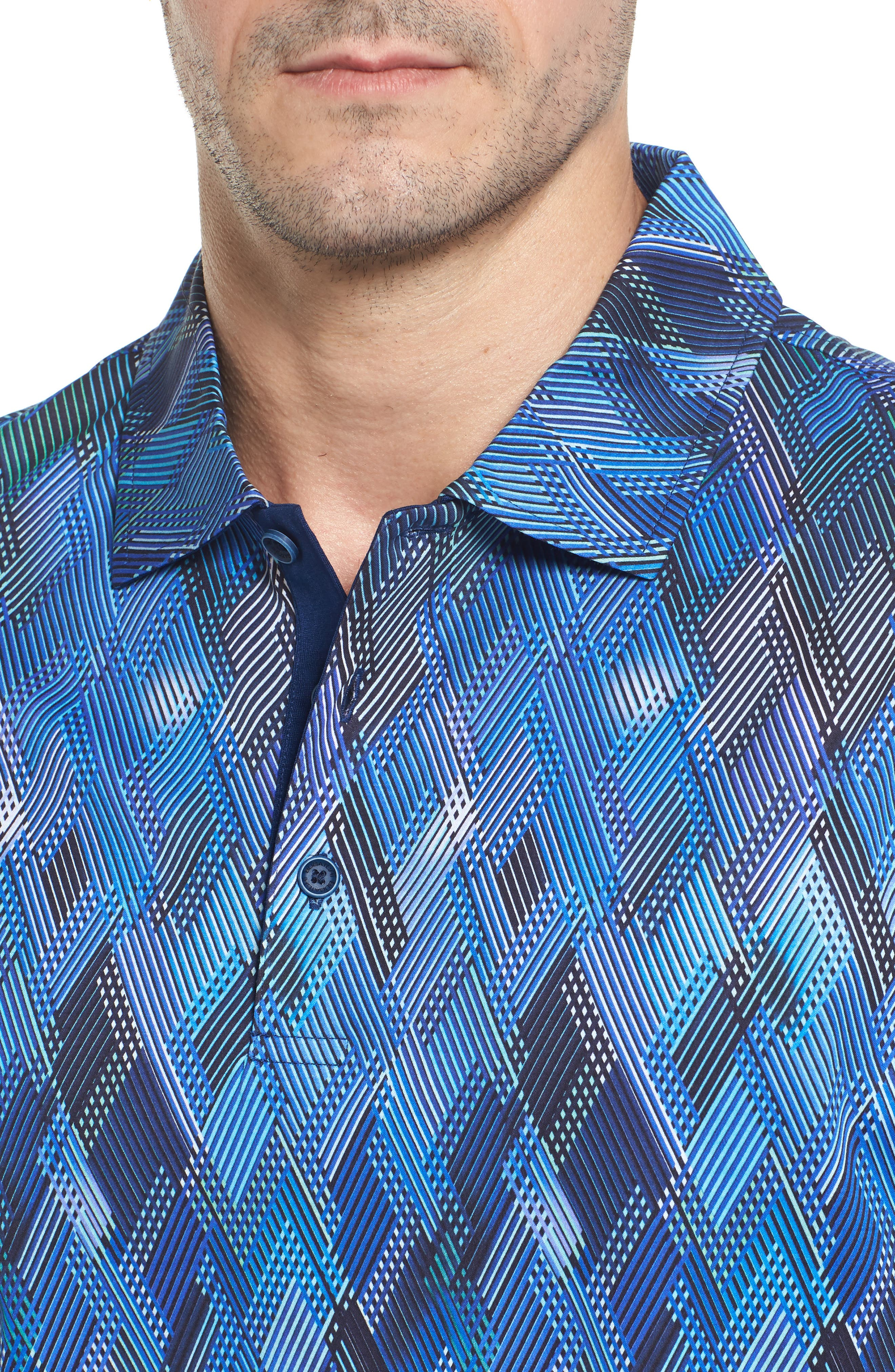 Classic Fit Diamond Grid Polo,                             Alternate thumbnail 4, color,