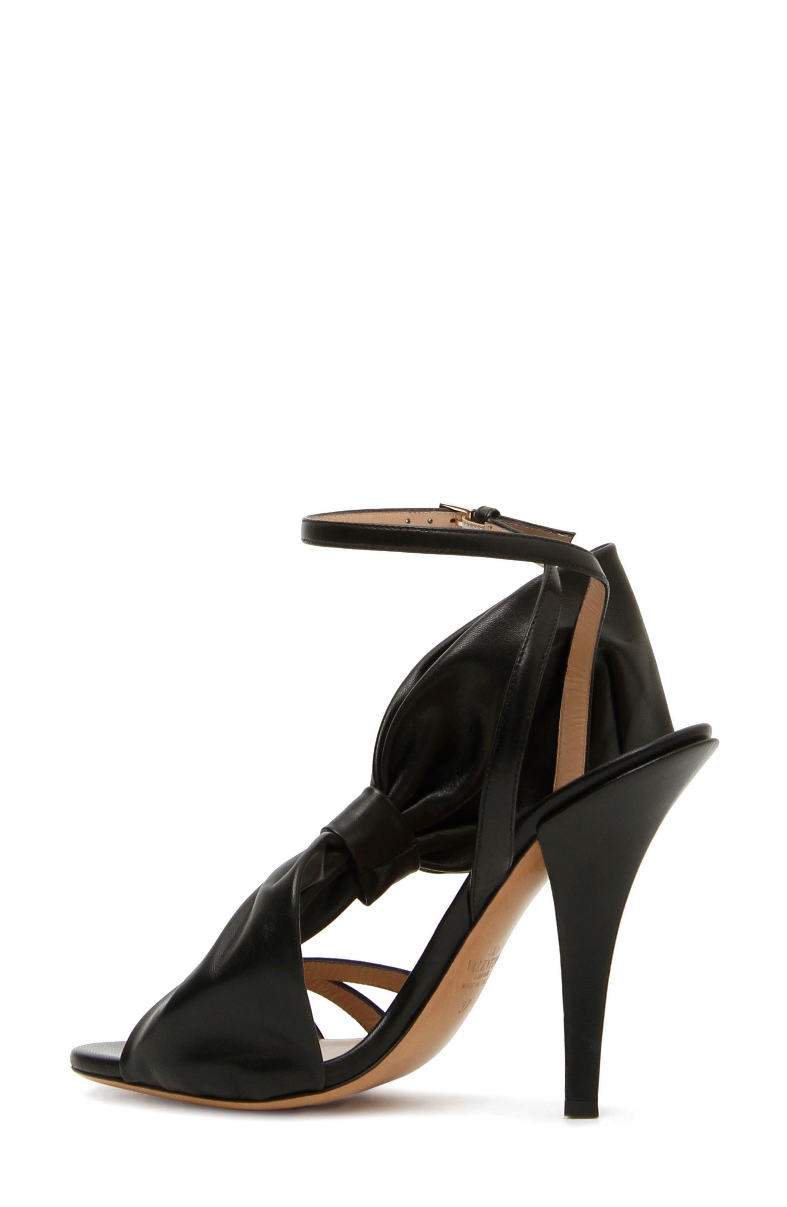 Asymmetric Bow Sandal,                             Alternate thumbnail 3, color,                             BLACK