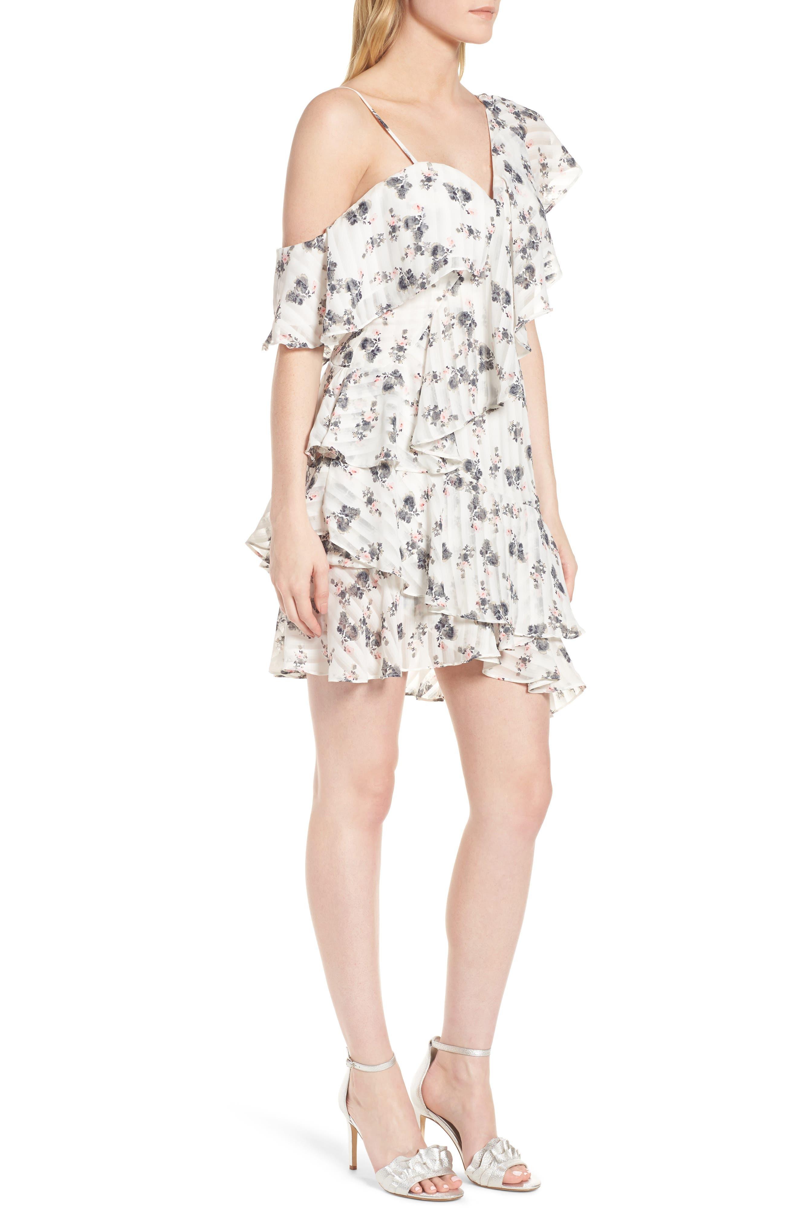 Bloom One-Shoulder Dress,                             Alternate thumbnail 3, color,                             100