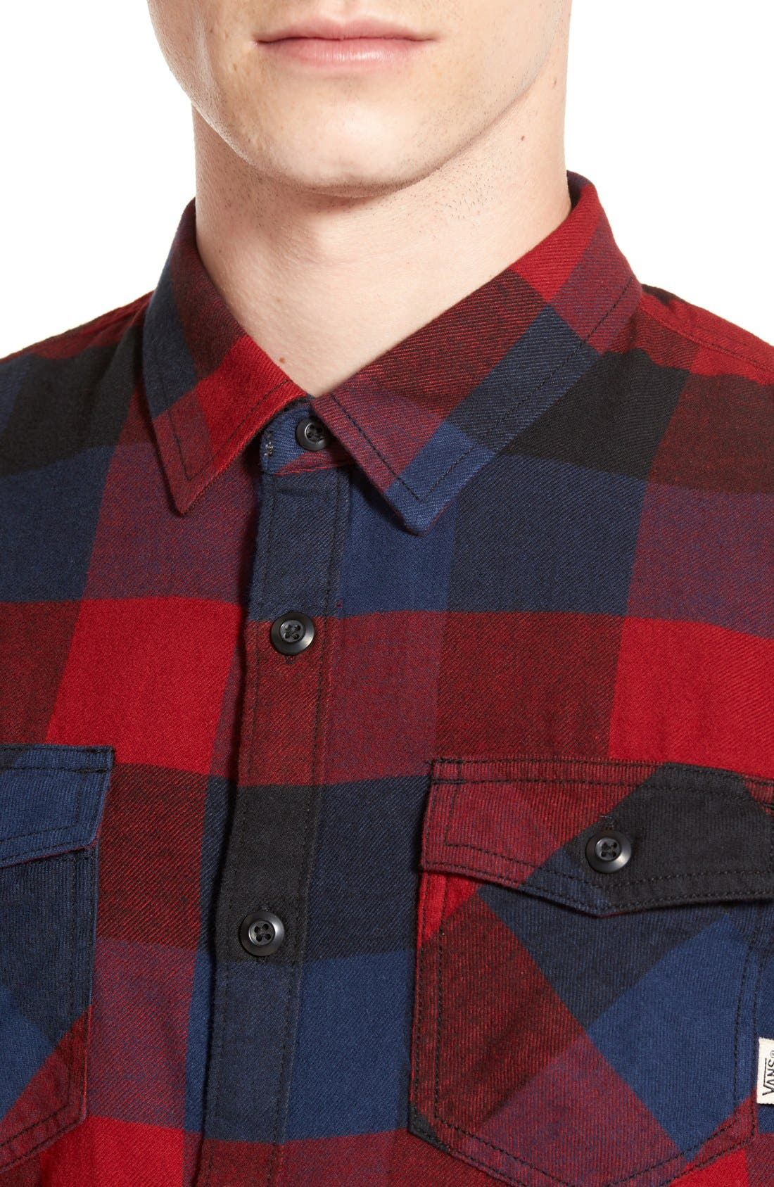 Trim Fit Check Flannel Woven Shirt,                             Alternate thumbnail 10, color,