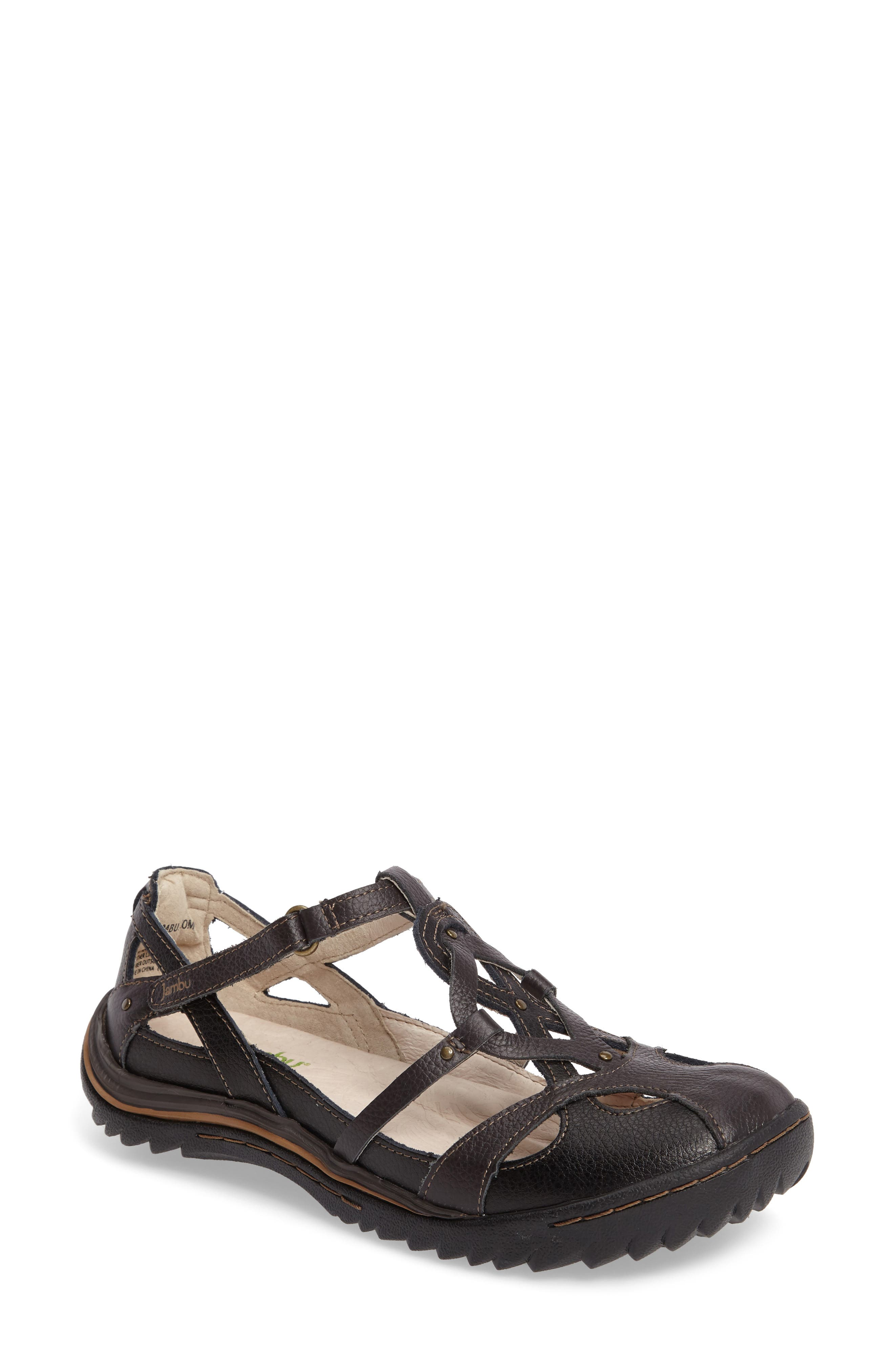JAMBU,                             Spain Studded Strappy Sneaker,                             Main thumbnail 1, color,                             BLACK LEATHER