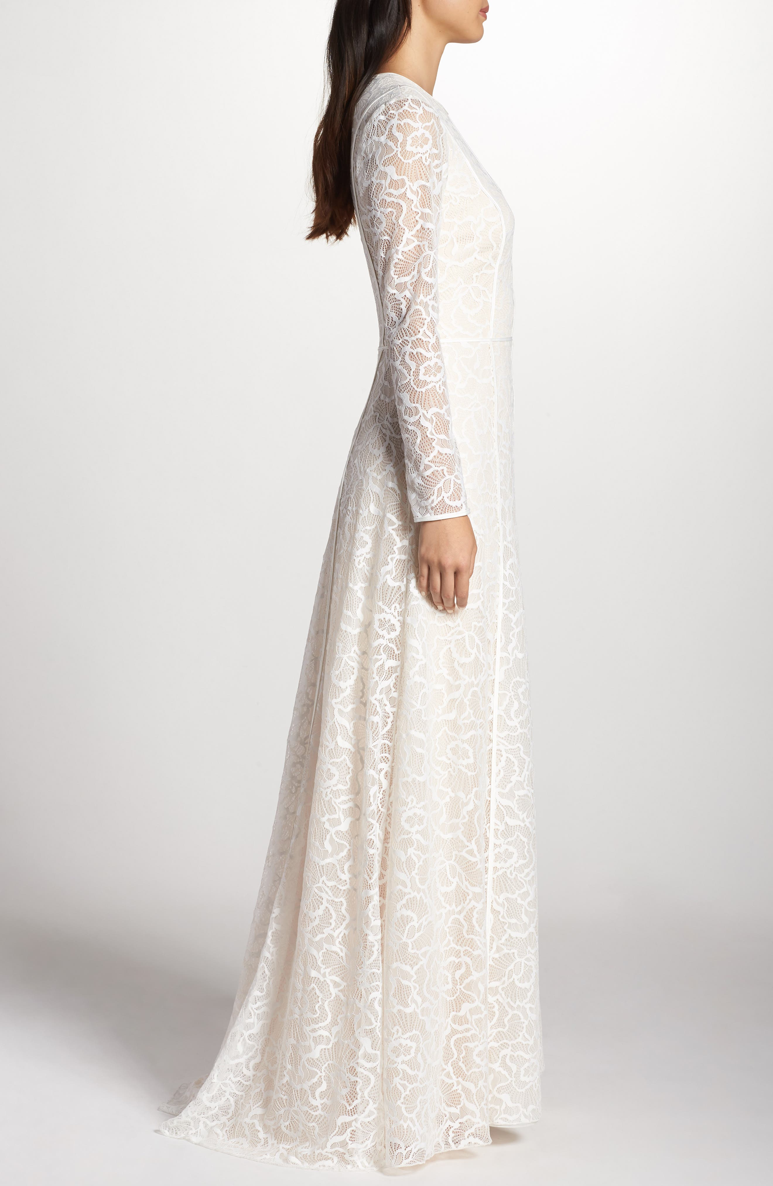 Sheer Sleeve Lace A-Line Gown,                             Alternate thumbnail 3, color,                             IVORY/ PETAL