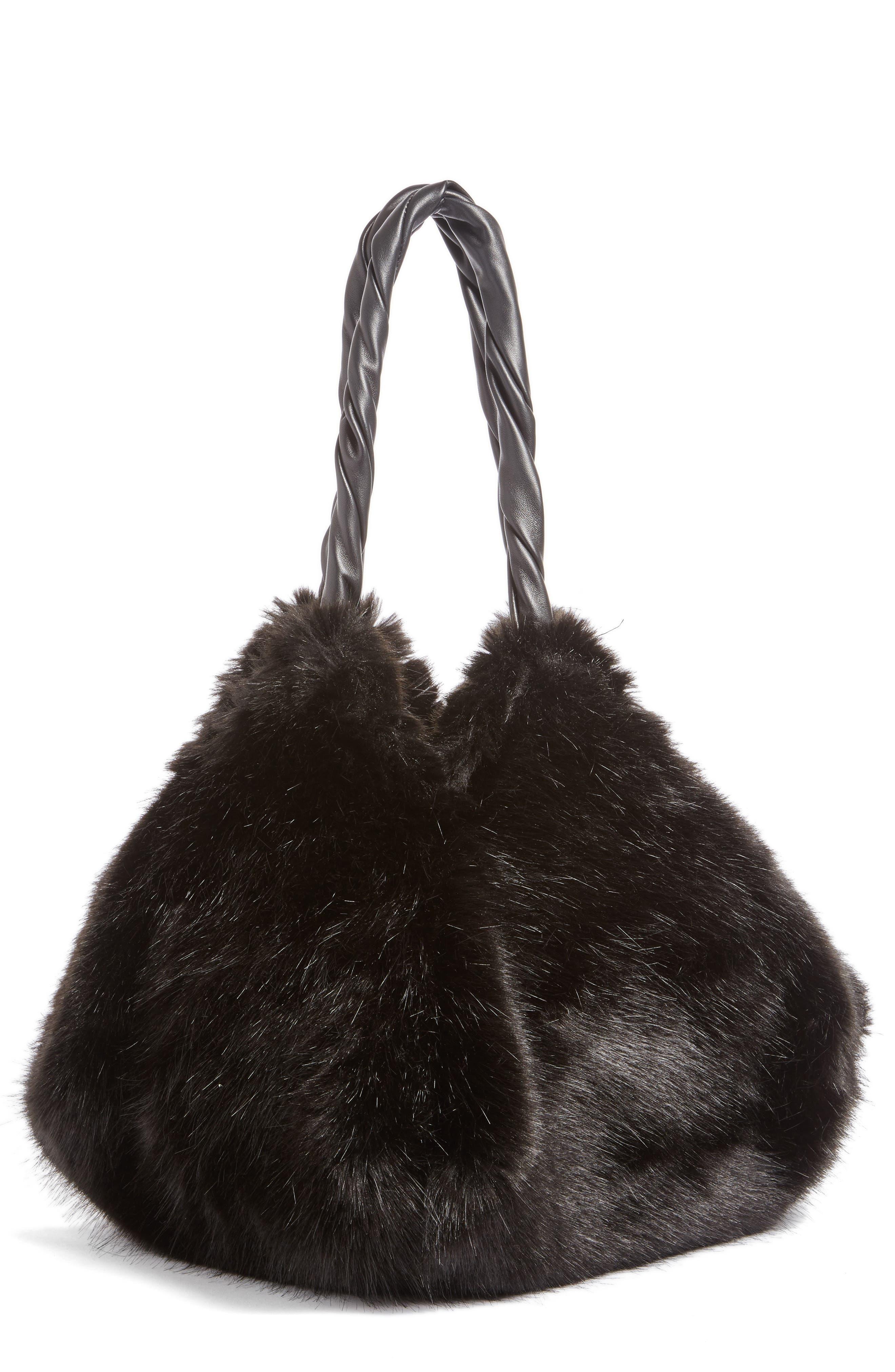 Pyramid Faux Fur Shoulder Bag,                             Main thumbnail 1, color,                             001