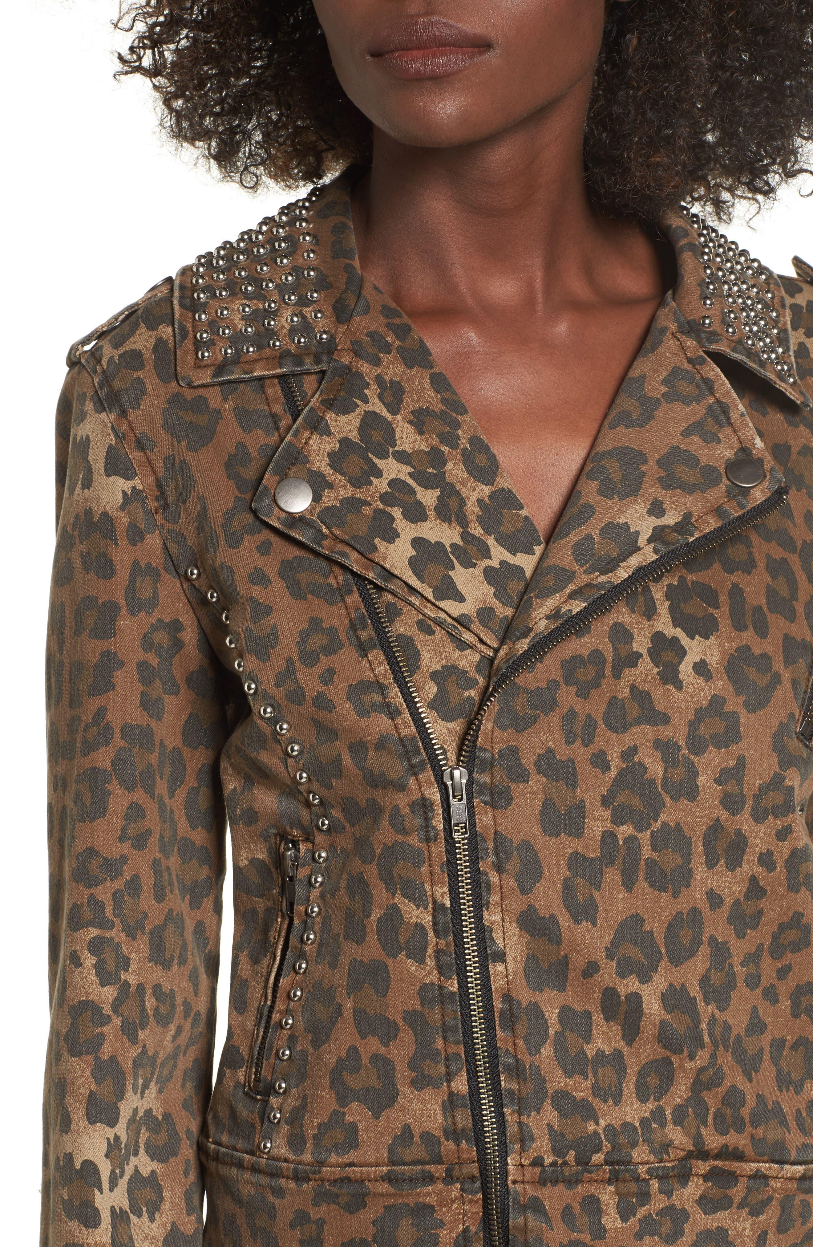 Studded Leopard Print Moto Jacket,                             Alternate thumbnail 4, color,                             200