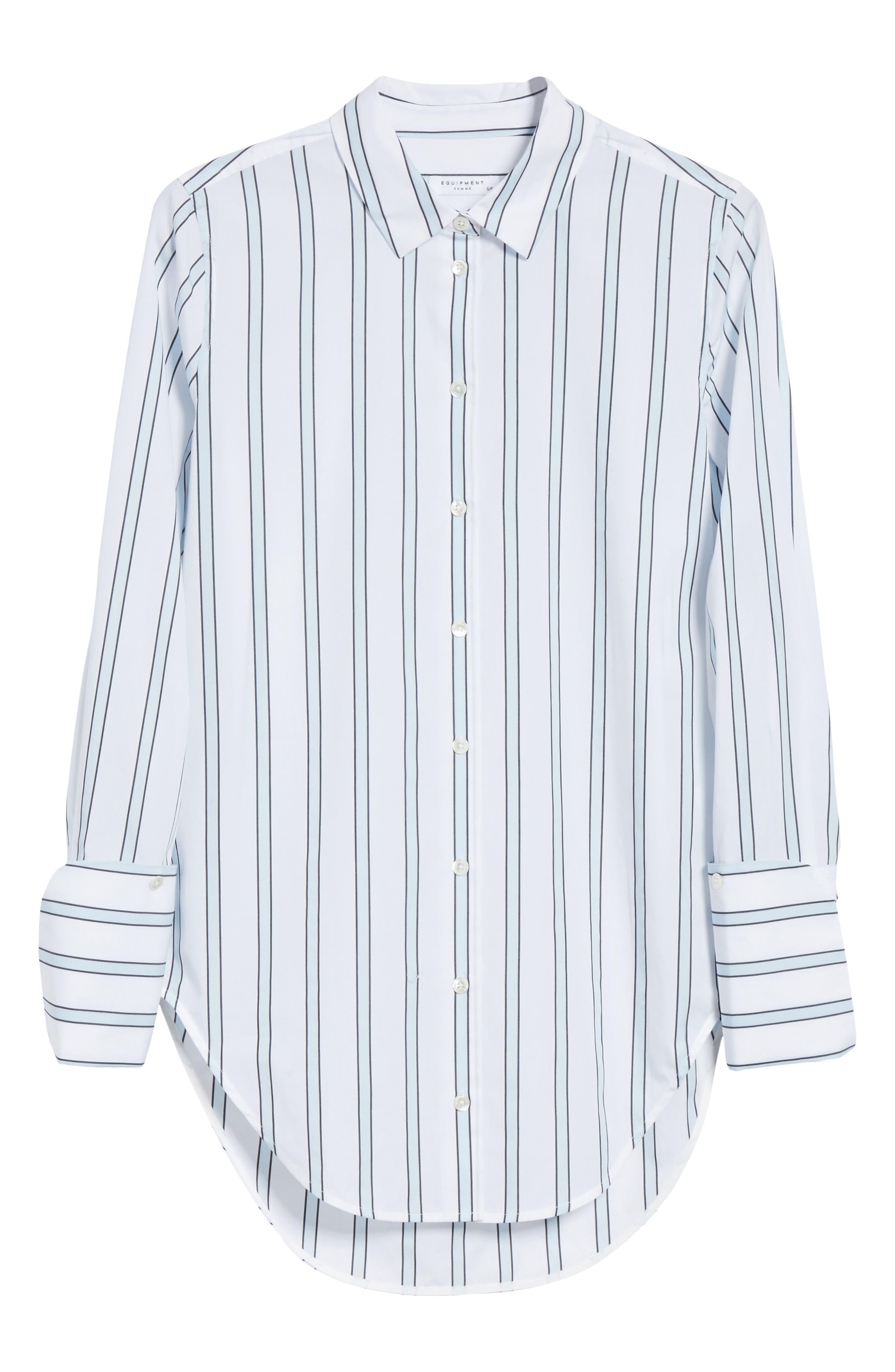 Essential Neopolitan Cuff Stripe Shirt,                             Alternate thumbnail 6, color,                             157