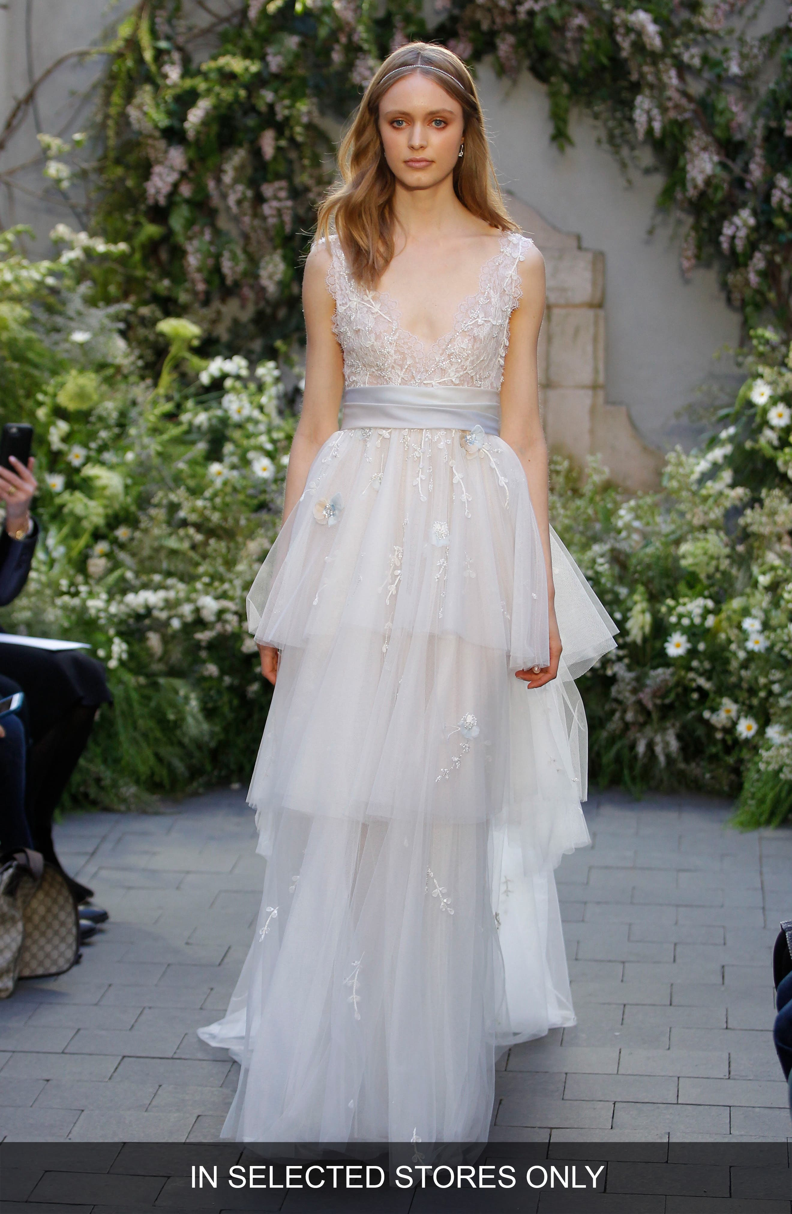 Coralie Lace & Tiered Tulle Gown,                             Main thumbnail 1, color,                             SKY/NUDE