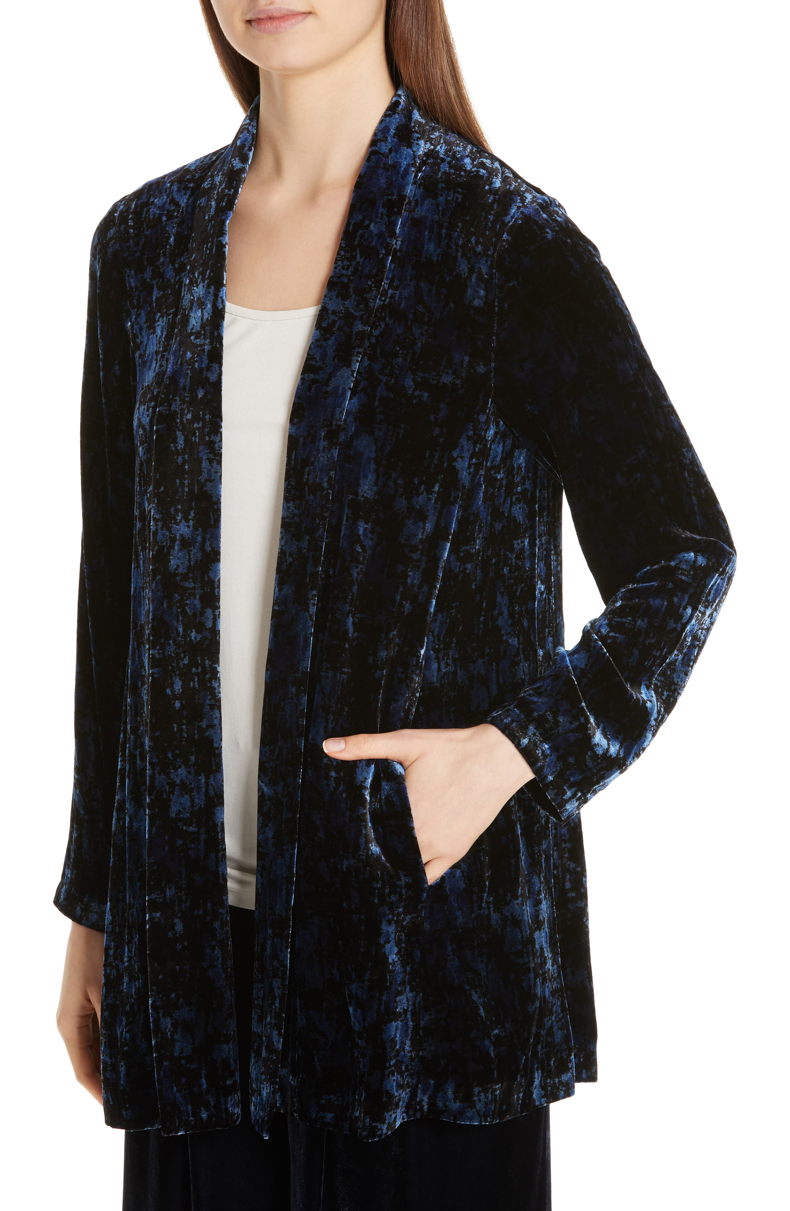 Shawl Collar Velvet Jacket,                             Alternate thumbnail 4, color,                             MIDNIGHT