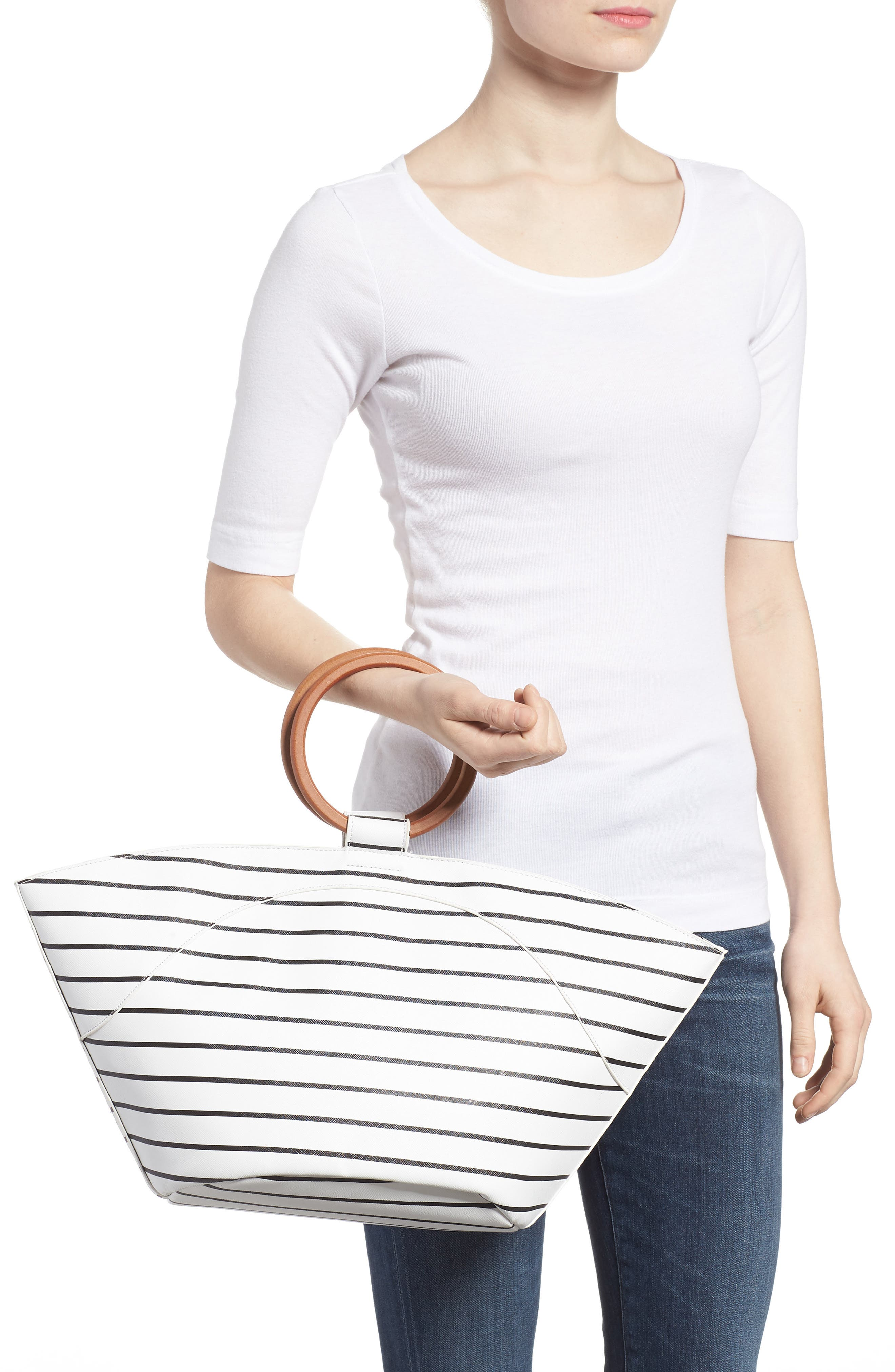 Wooden Ring Stripe Tote,                             Alternate thumbnail 2, color,                             103