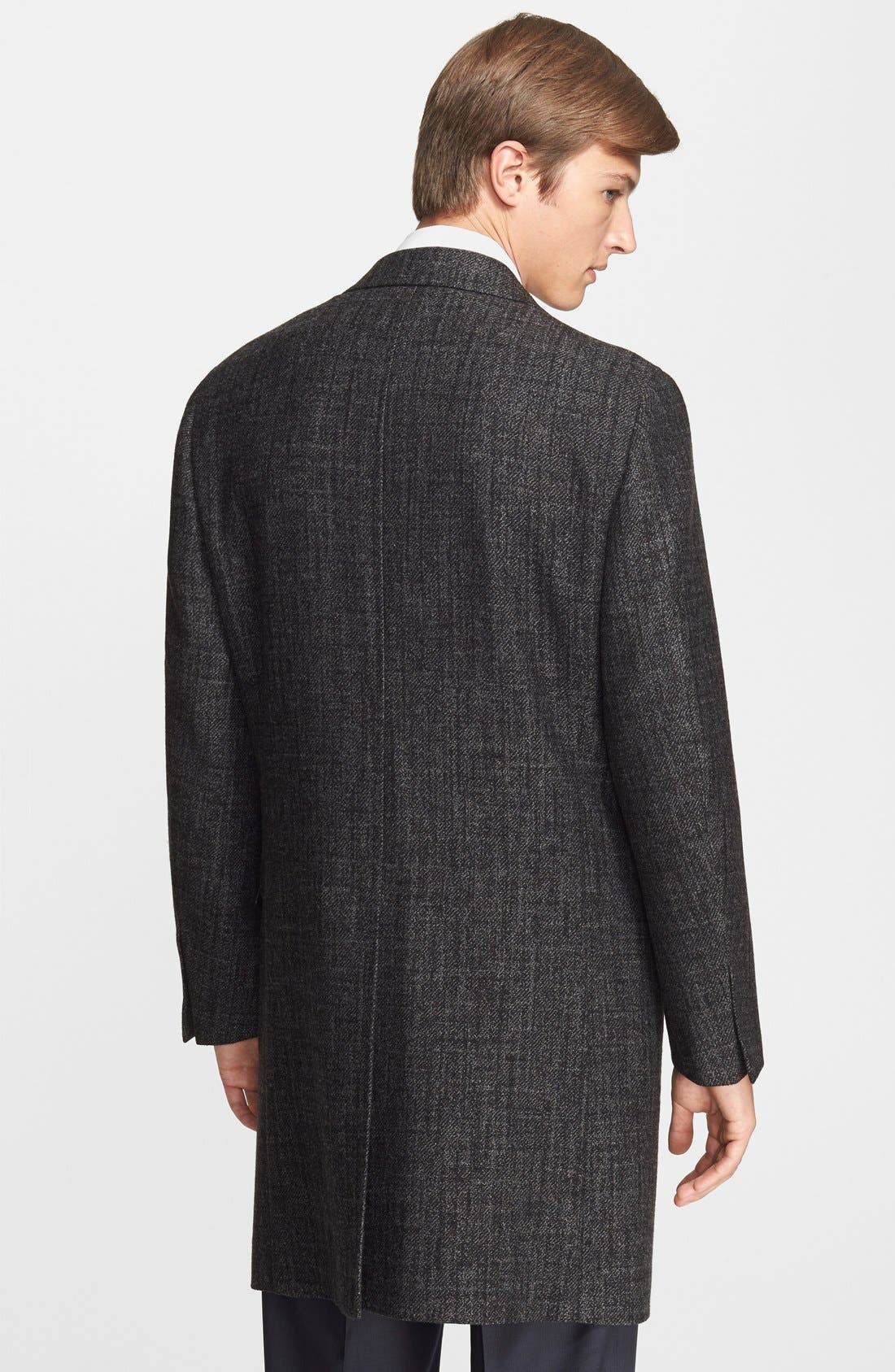 CANALI,                             Plaid Wool Overcoat,                             Alternate thumbnail 2, color,                             011
