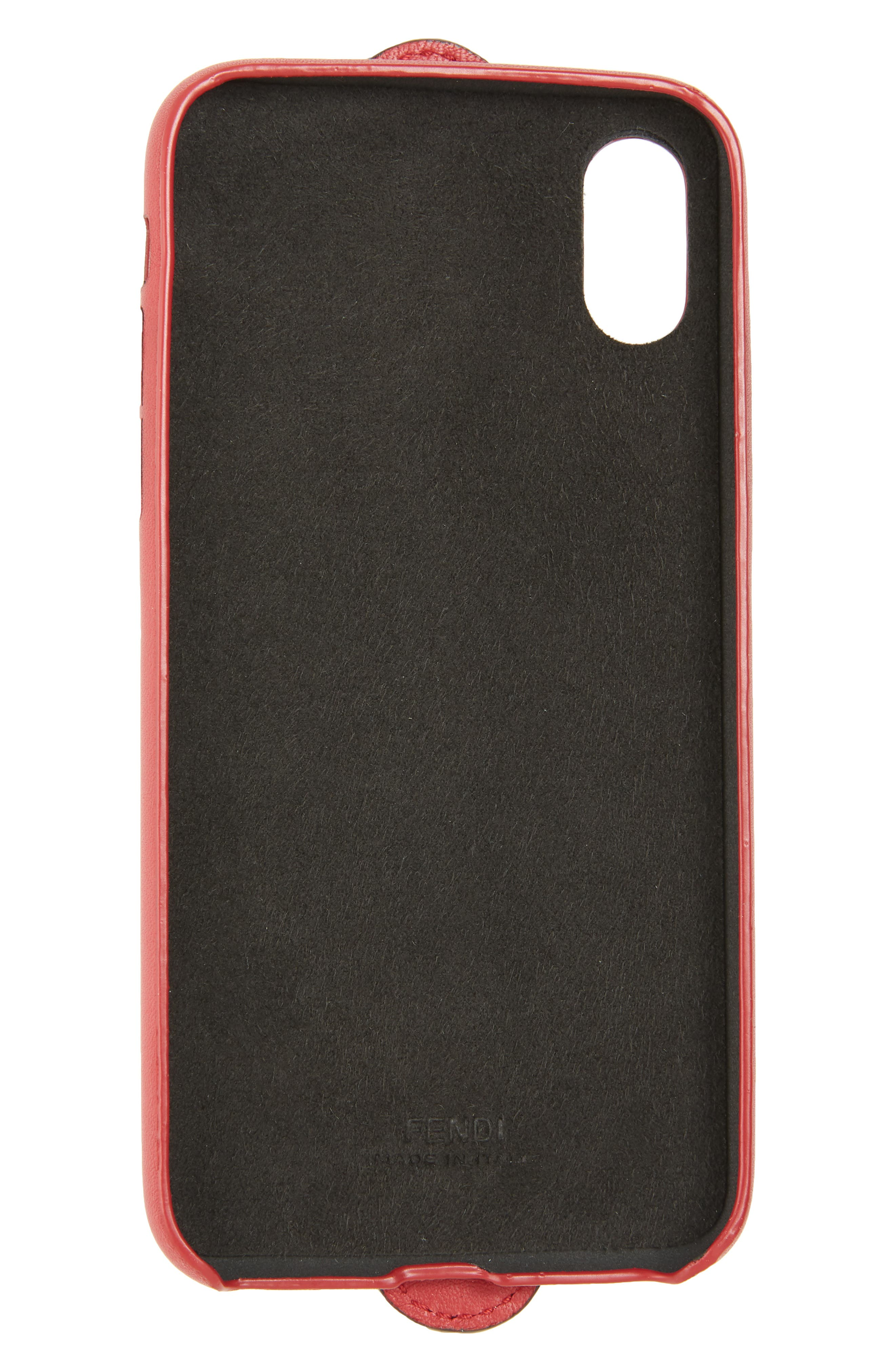 Logo iPhone X Leather Case,                             Alternate thumbnail 2, color,                             FRAGOLA/ MAYA NERO