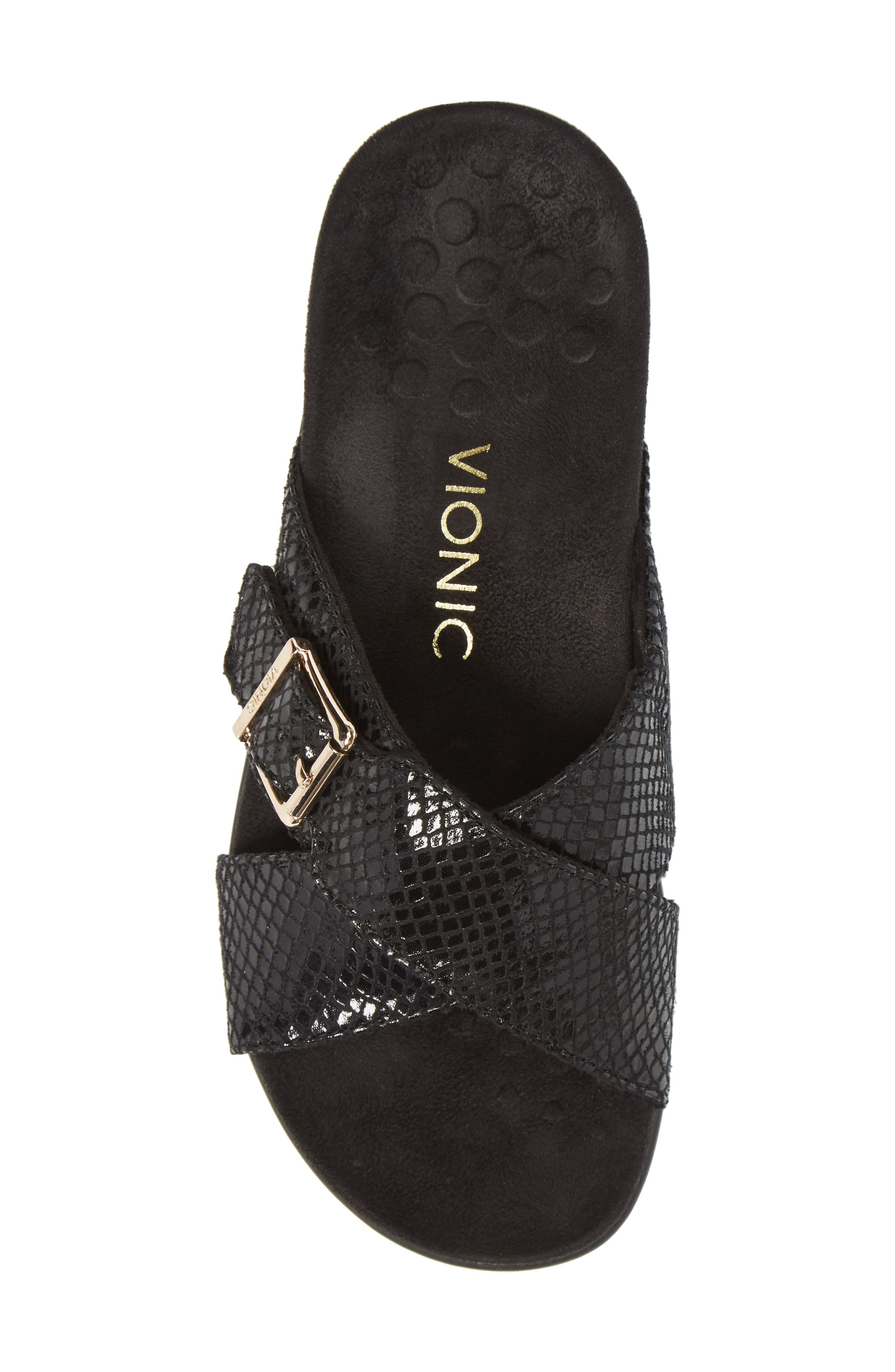 Dorie Cross Strap Slide Sandal,                             Alternate thumbnail 5, color,                             BLACK SNAKE FAUX LEATHER