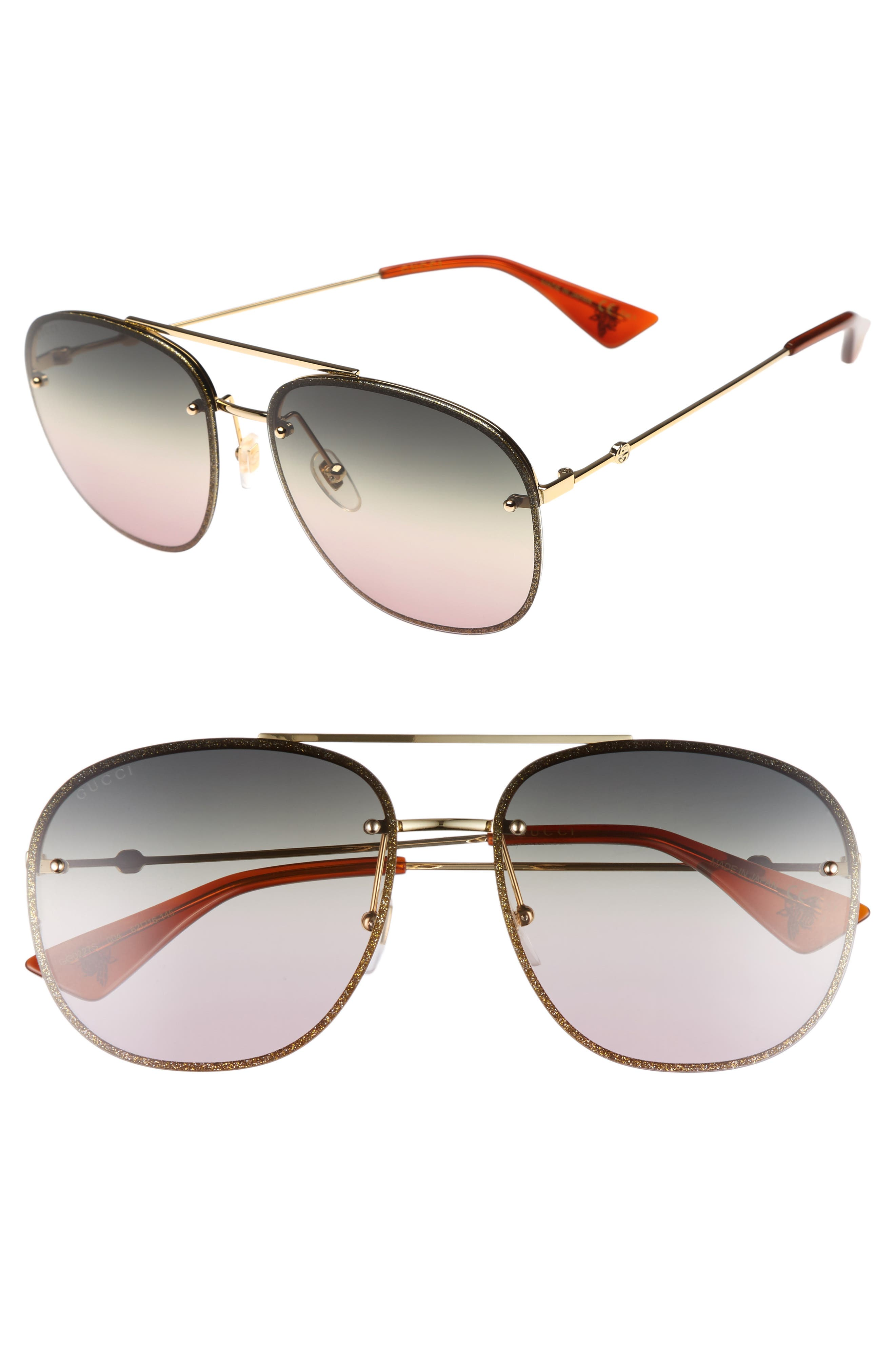 62mm Oversize Aviator Sunglasses,                         Main,                         color, GOLD/ GREEN/ YELLOW/ NUDE