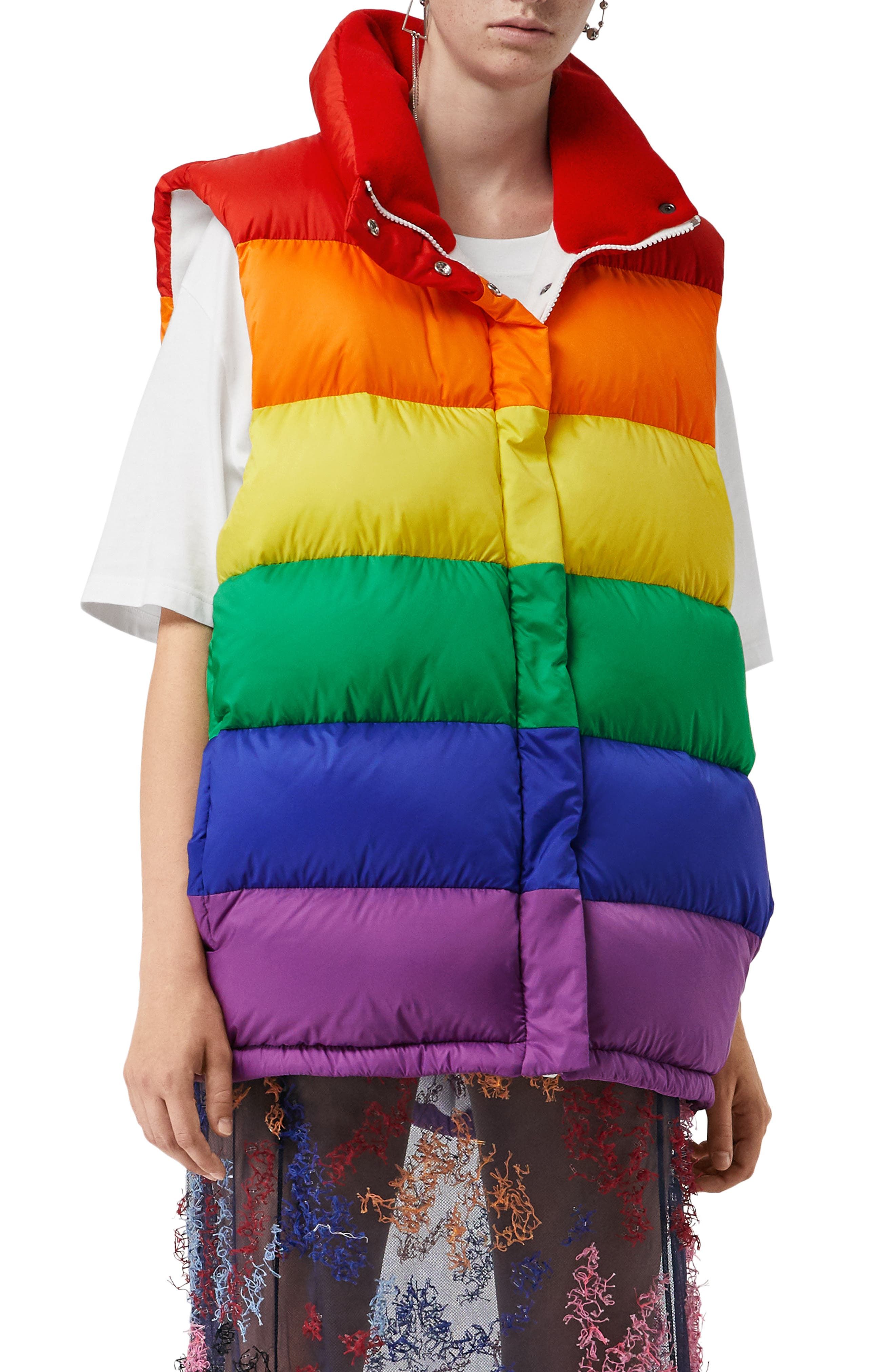 Rainbow Down Puffer Vest,                             Main thumbnail 1, color,                             RAINBOW