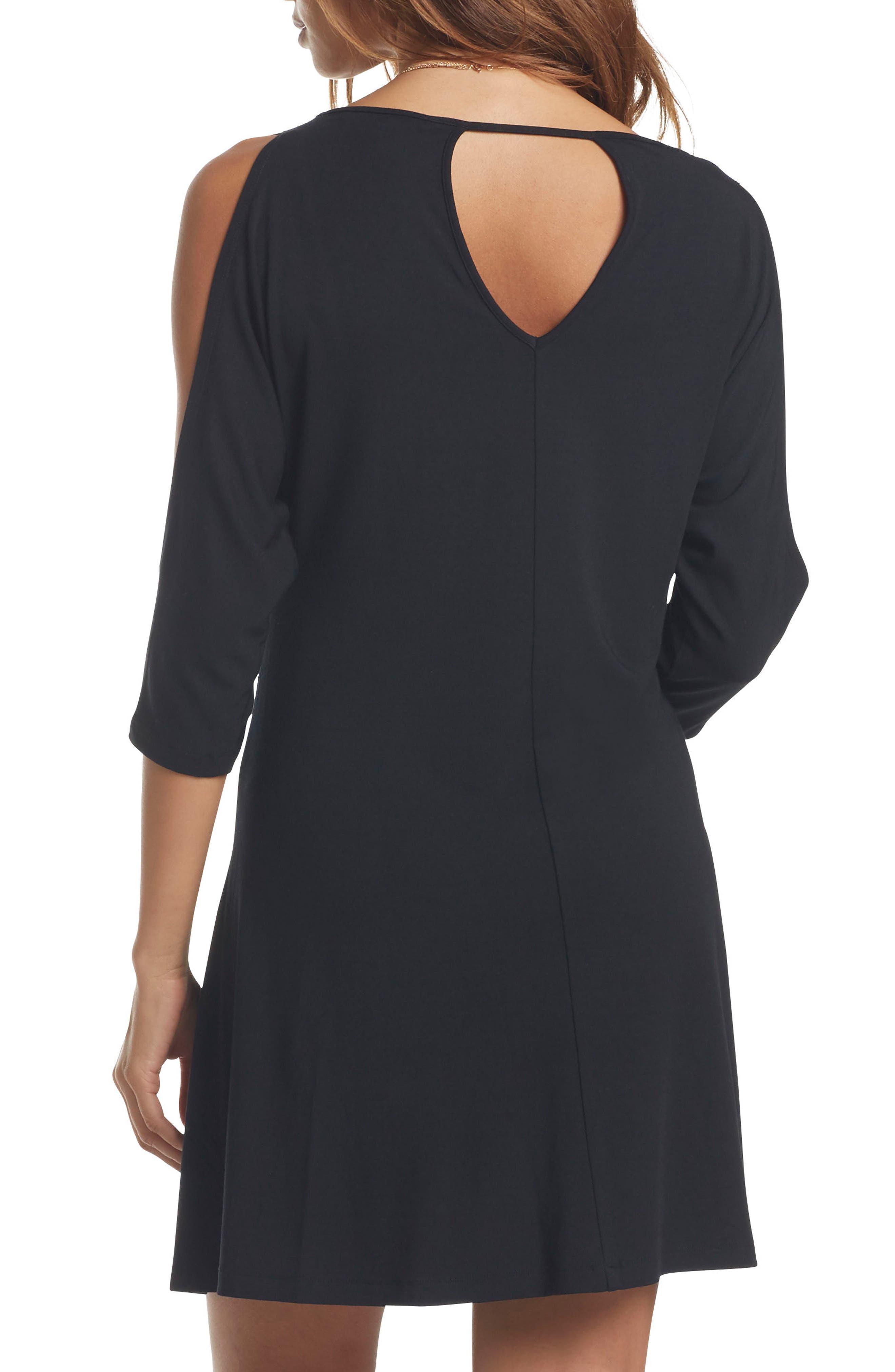 Naya Cold Shoulder Maternity Dress,                             Alternate thumbnail 2, color,                             BLACK