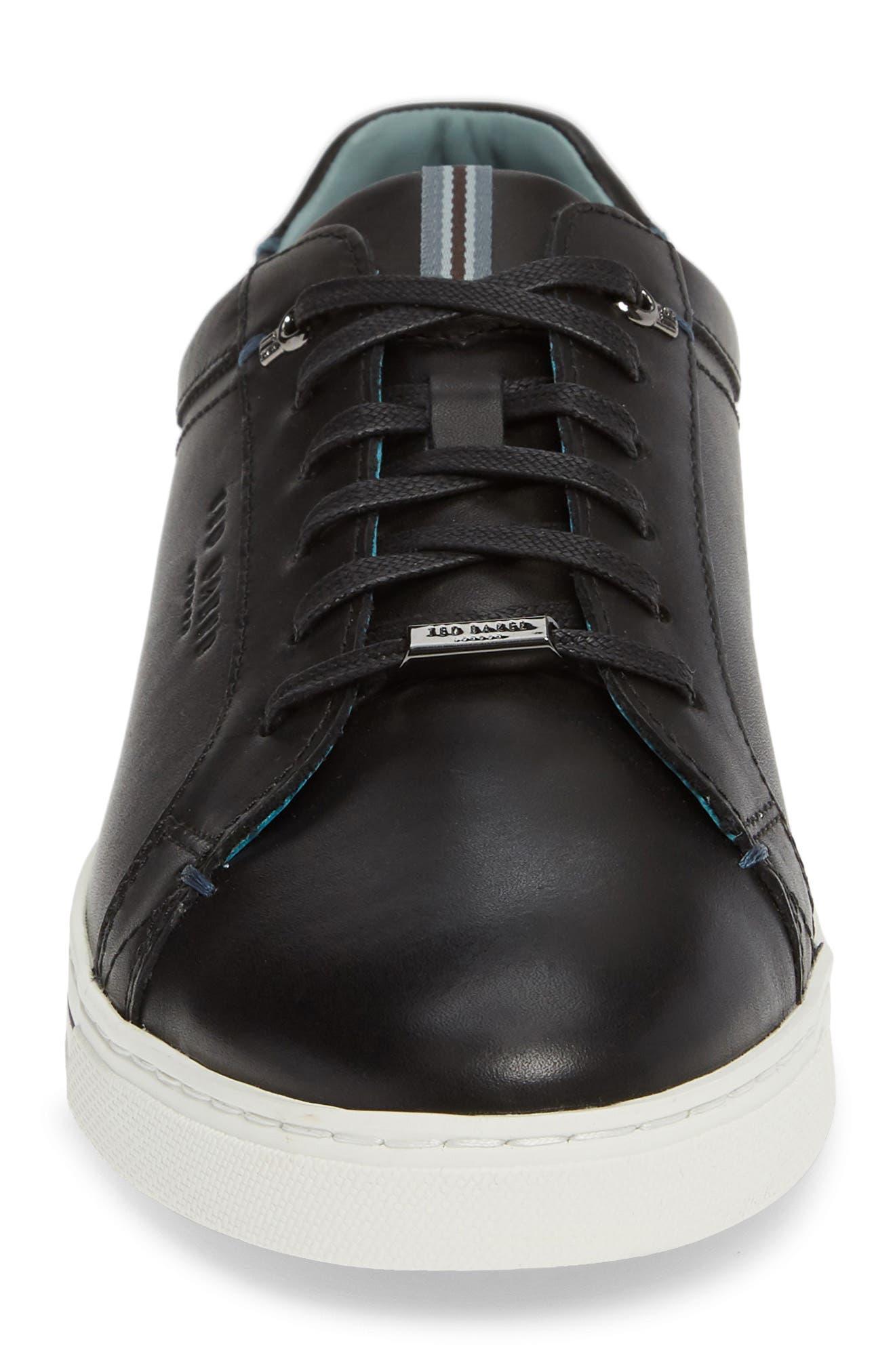 TED BAKER LONDON,                             Thawne Sneaker,                             Alternate thumbnail 4, color,                             BLACK LEATHER
