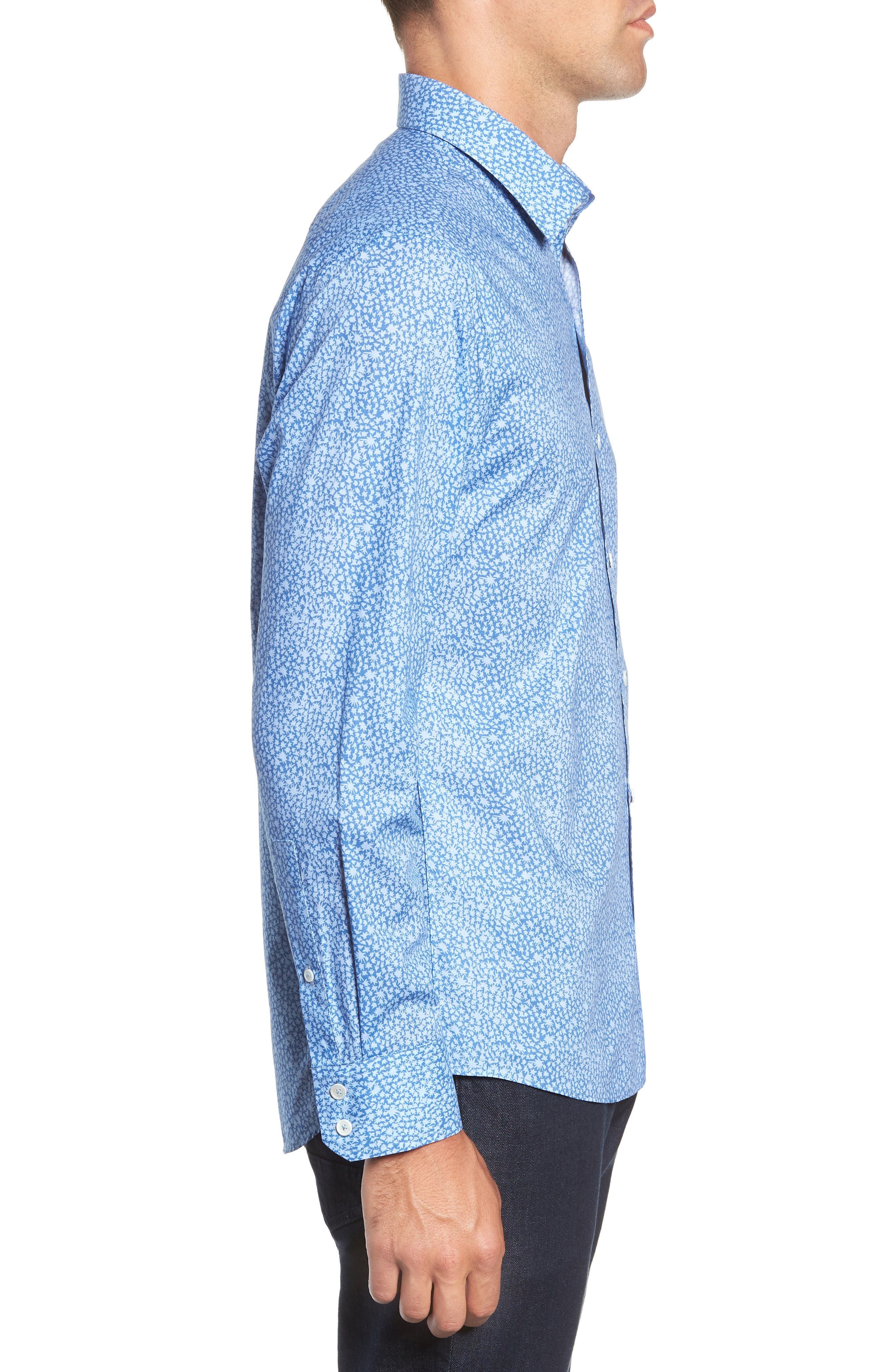 ZACHARY PRELL,                             Elliot Regular Fit Sport Shirt,                             Alternate thumbnail 4, color,                             OCEAN