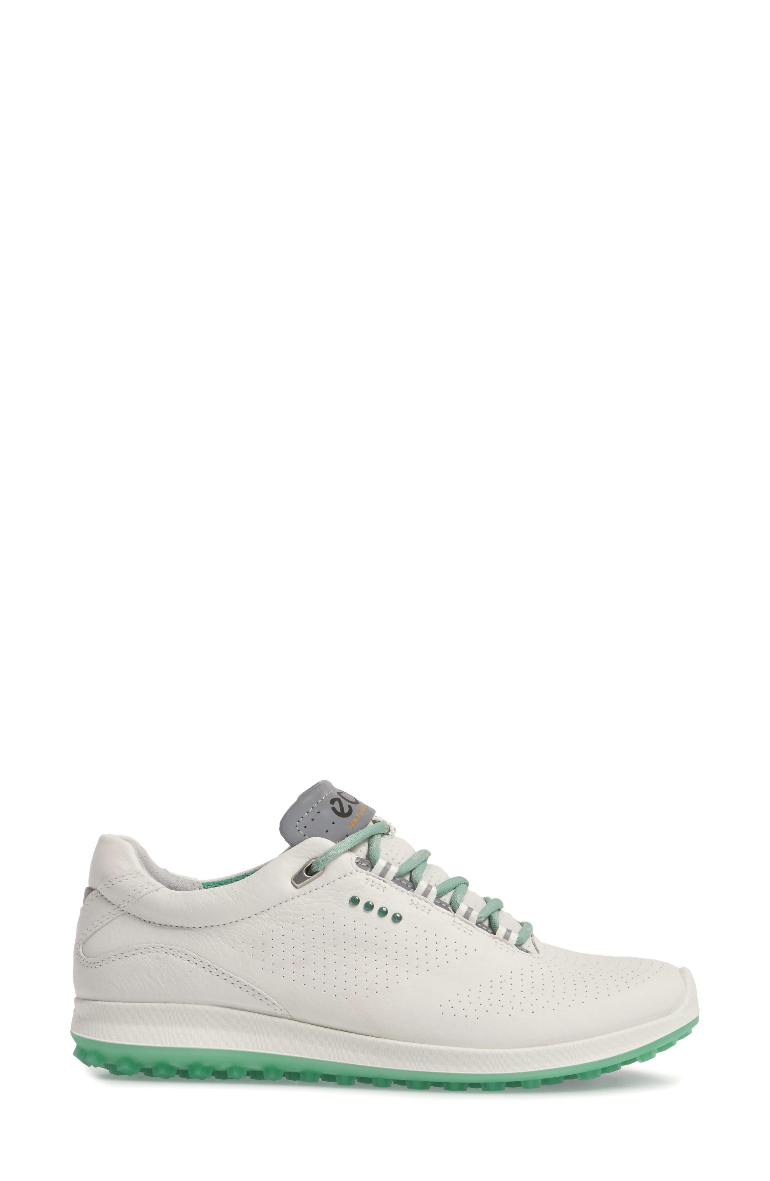 BIOM 2 Hybrid Water-Repellent Golf Shoe,                             Alternate thumbnail 3, color,                             WHITE/ GRANITE GREEN LEATHER