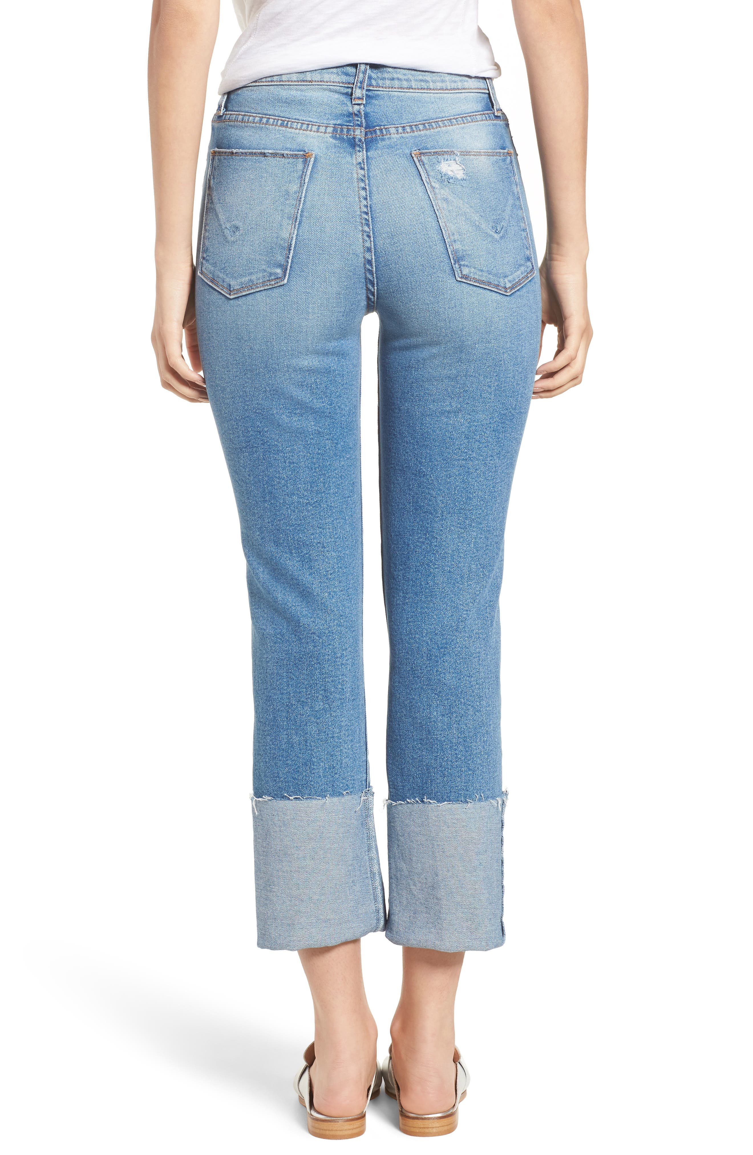 Zoeey High Waist Cuff Straight Leg Jeans,                             Alternate thumbnail 2, color,                             425