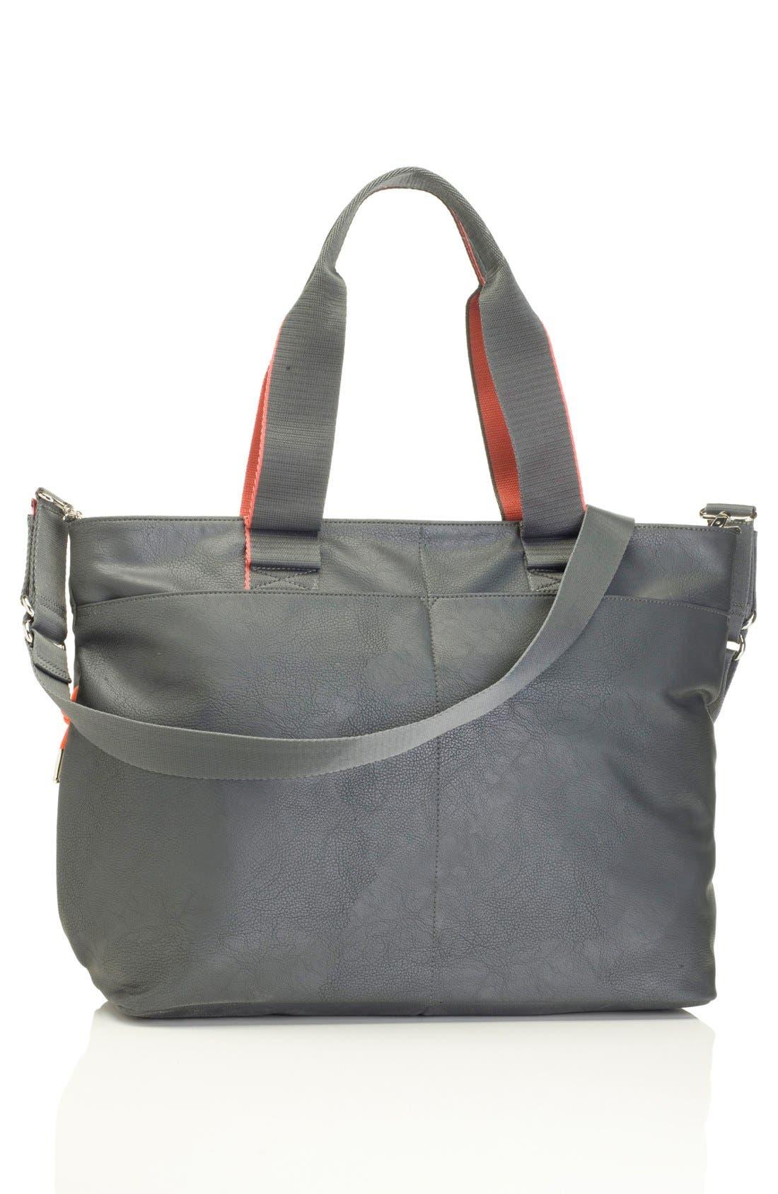 'Eden' Faux Leather Diaper Bag,                             Alternate thumbnail 5, color,                             GREY