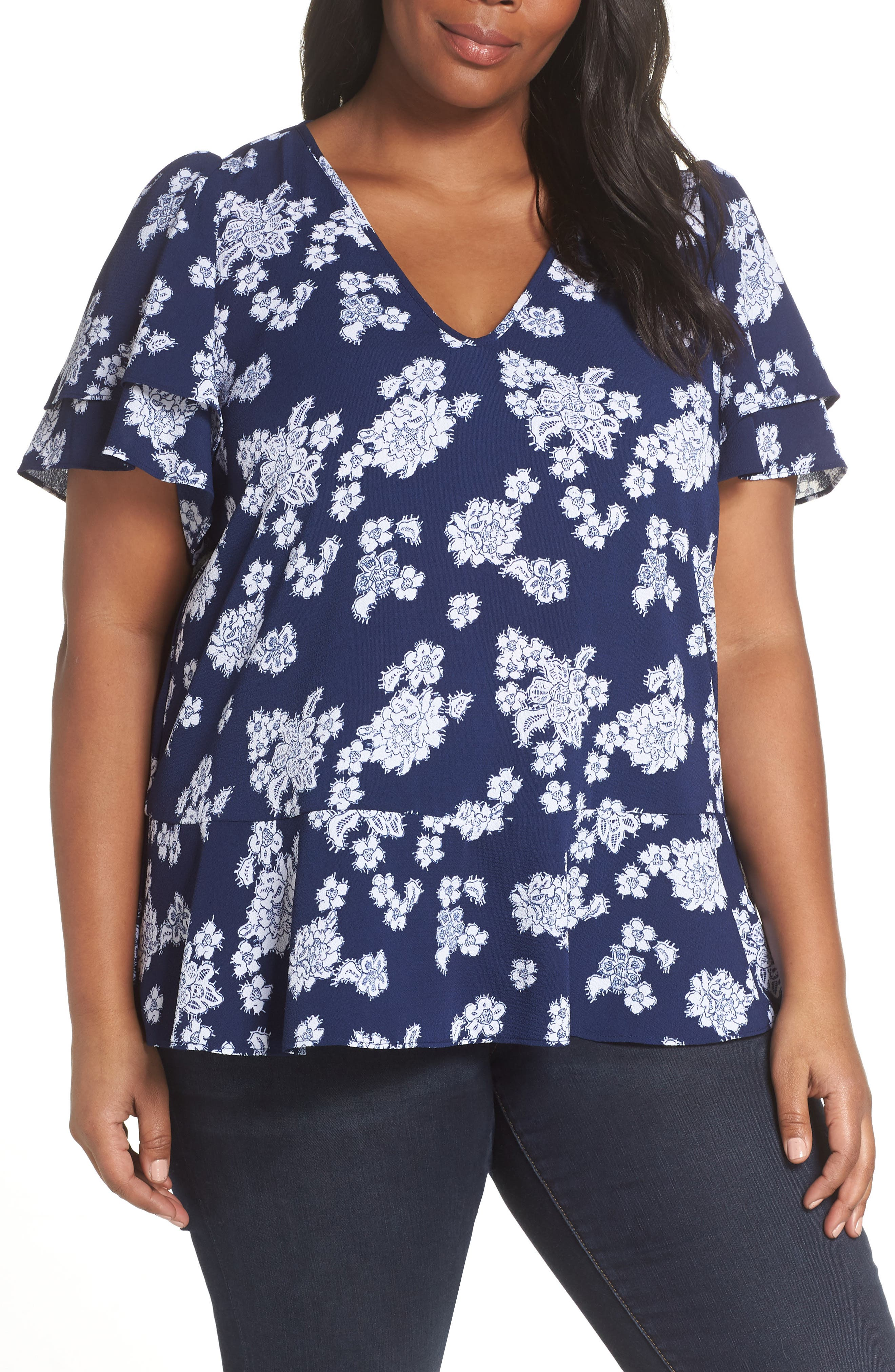 Tossed Lace Flowers Top,                             Main thumbnail 1, color,                             TRUE NAVY/ WHITE