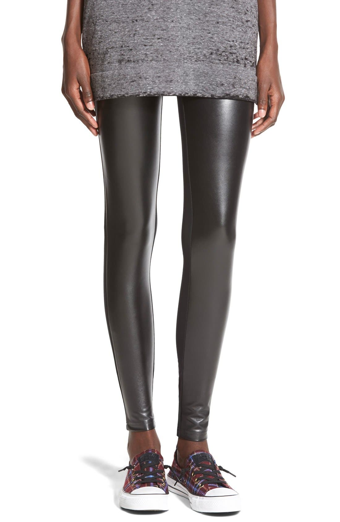 BP.,                             Two-Tone Faux Leather Leggings,                             Main thumbnail 1, color,                             001