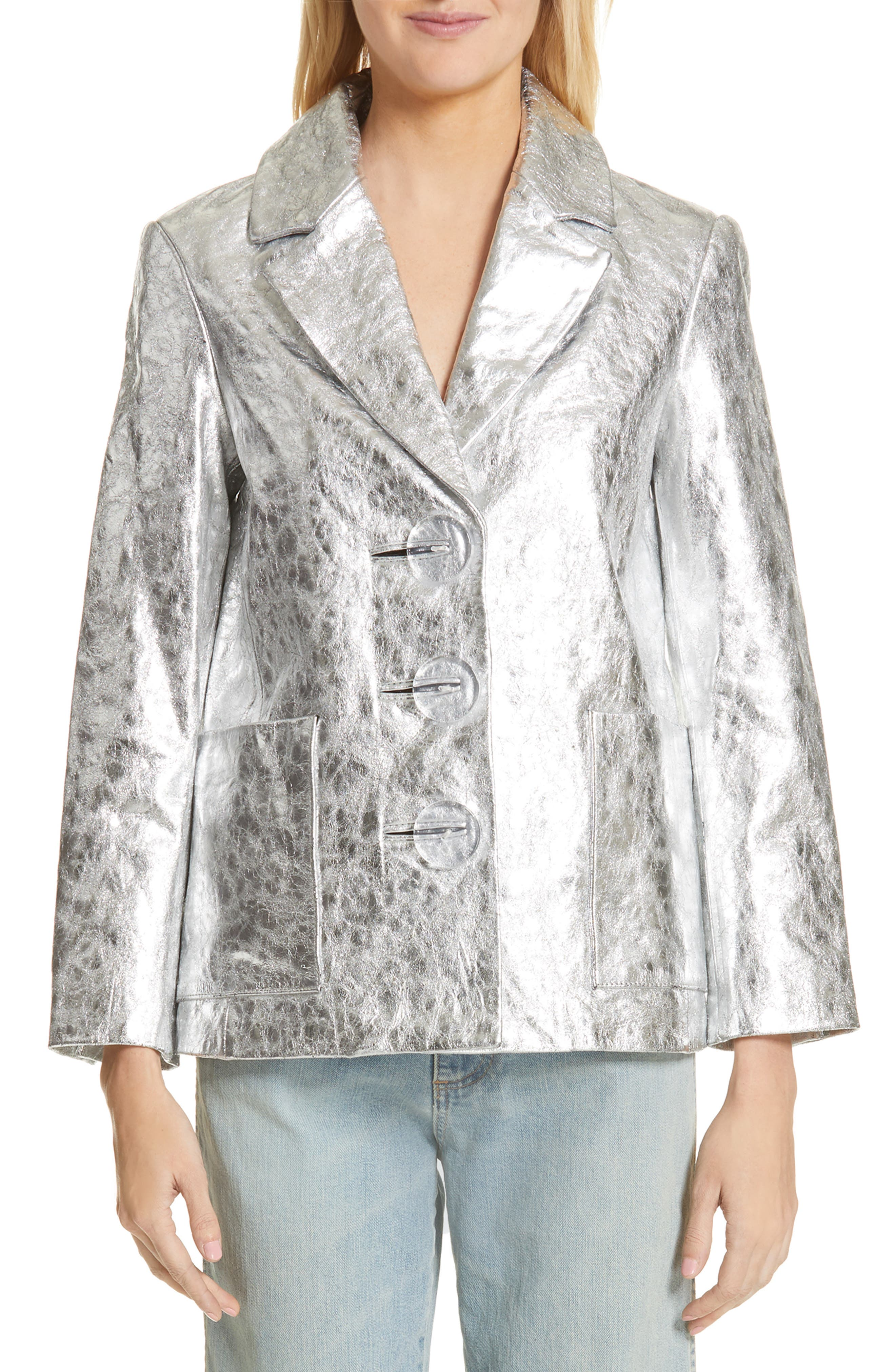 SIMON MILLER Dawes Crackled Leather Jacket, Main, color, SILVER CRACKLE