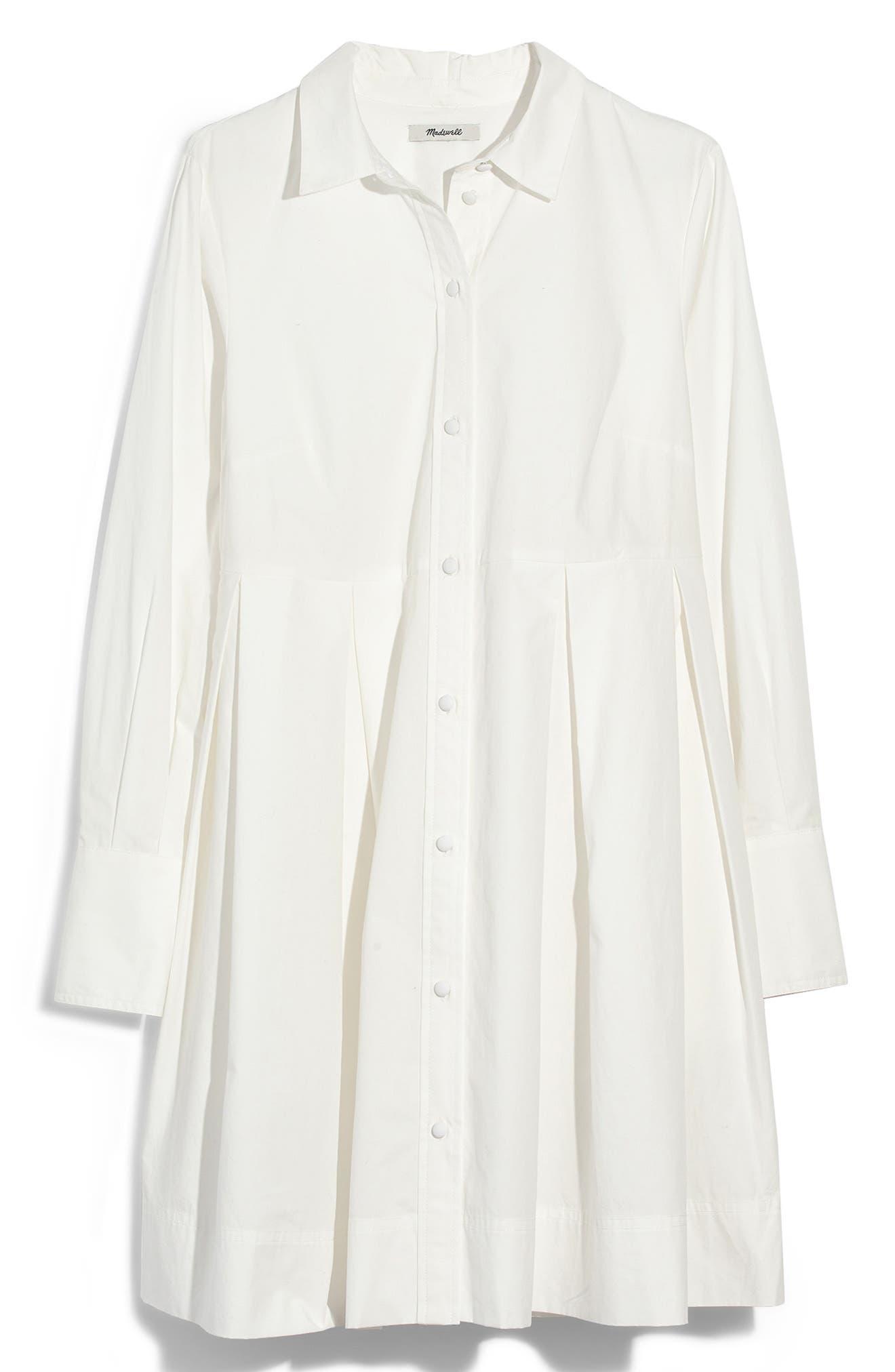 Box Pleat Shirtdress,                             Alternate thumbnail 4, color,                             WHITE WASH