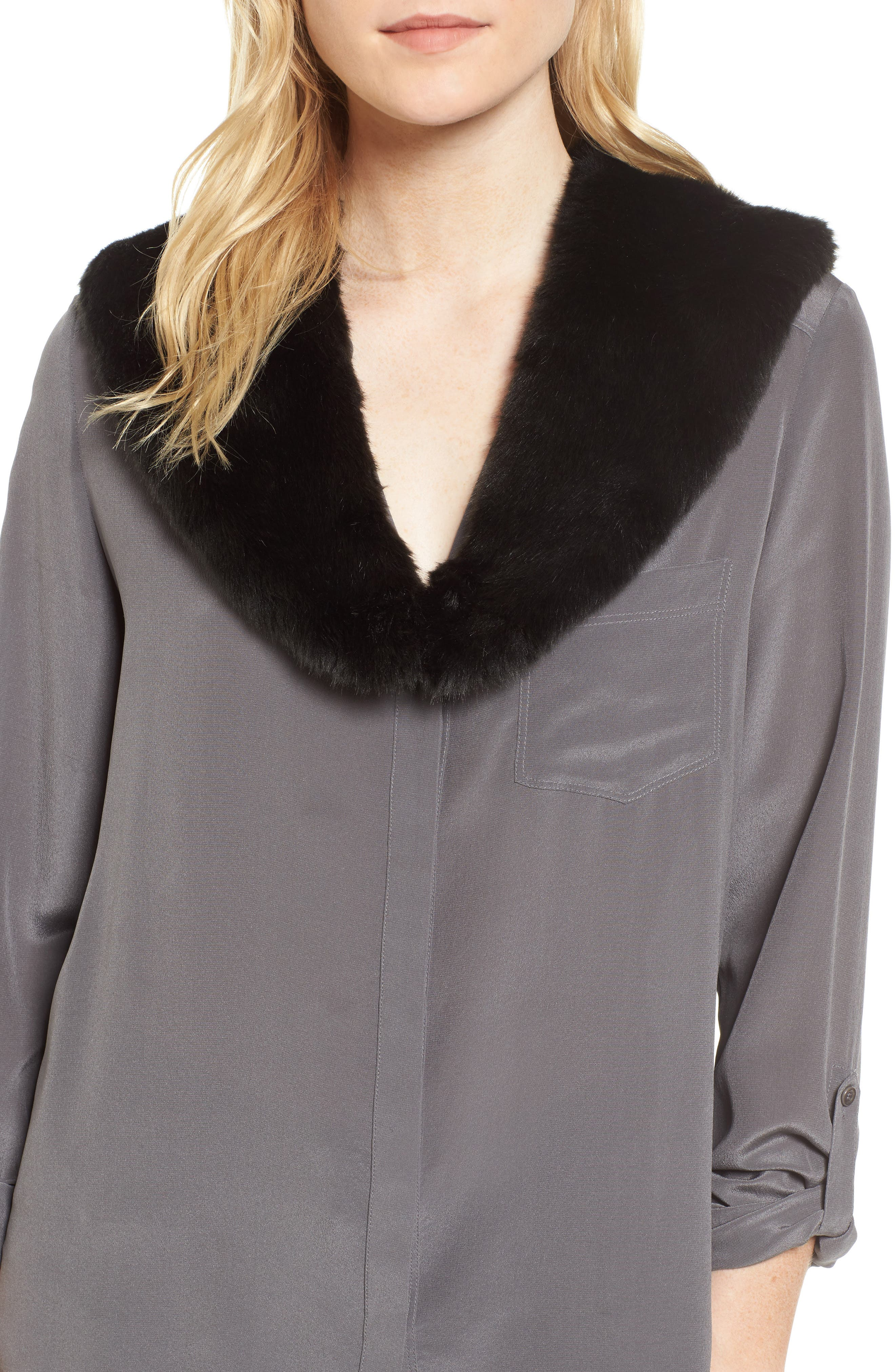Badgley Mischka Faux Fur Collar,                             Main thumbnail 1, color,                             001