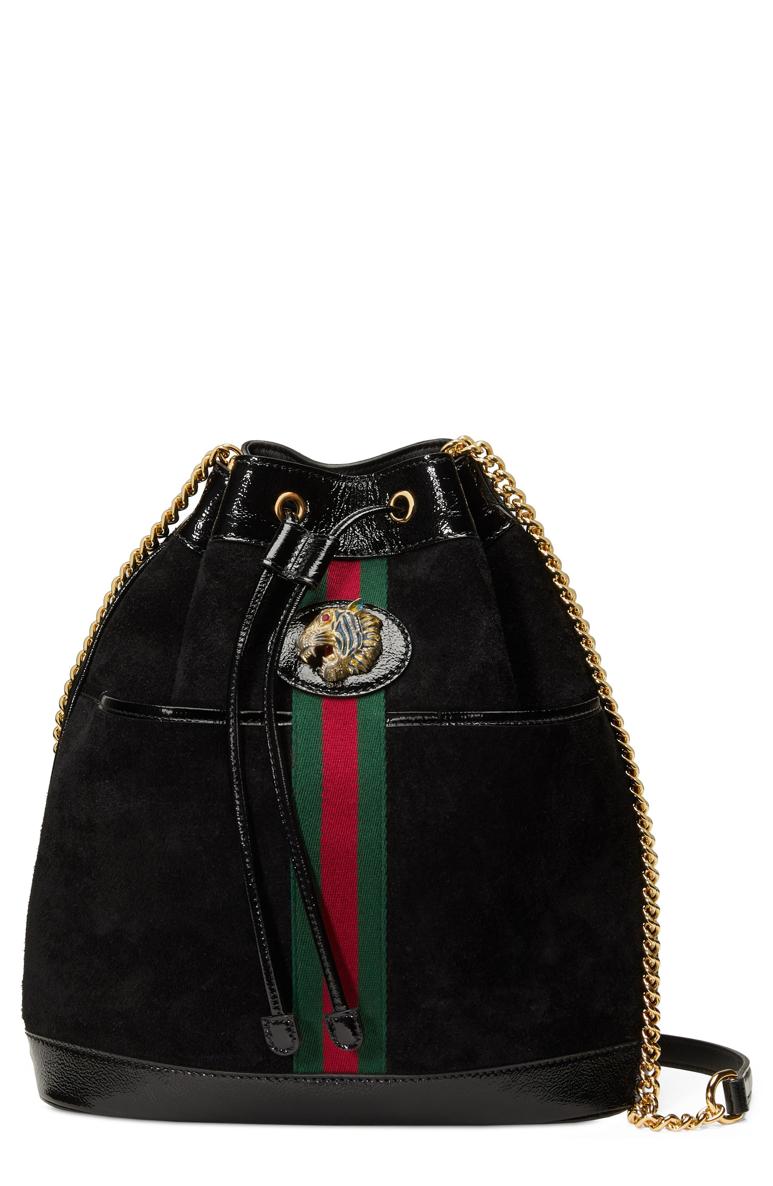 Linea Rajah Suede Bucket Bag,                         Main,                         color, NERO/ VERT/ RED MULTI